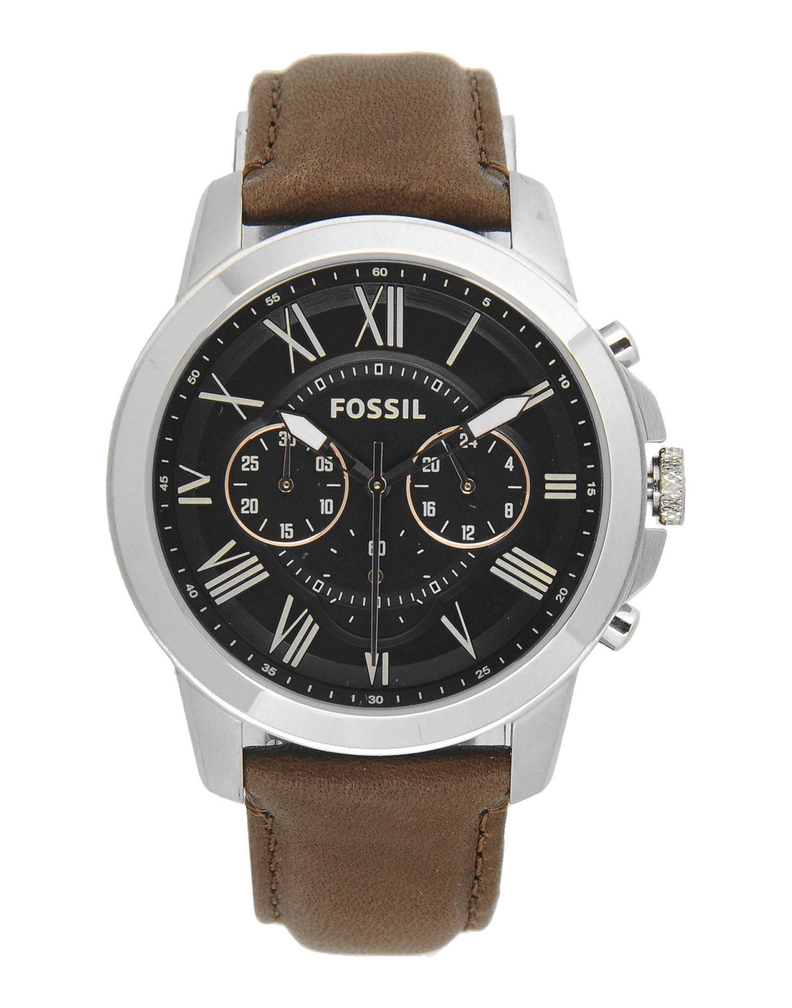 Fossil Leather Wrist Watch in Black for Men - Lyst