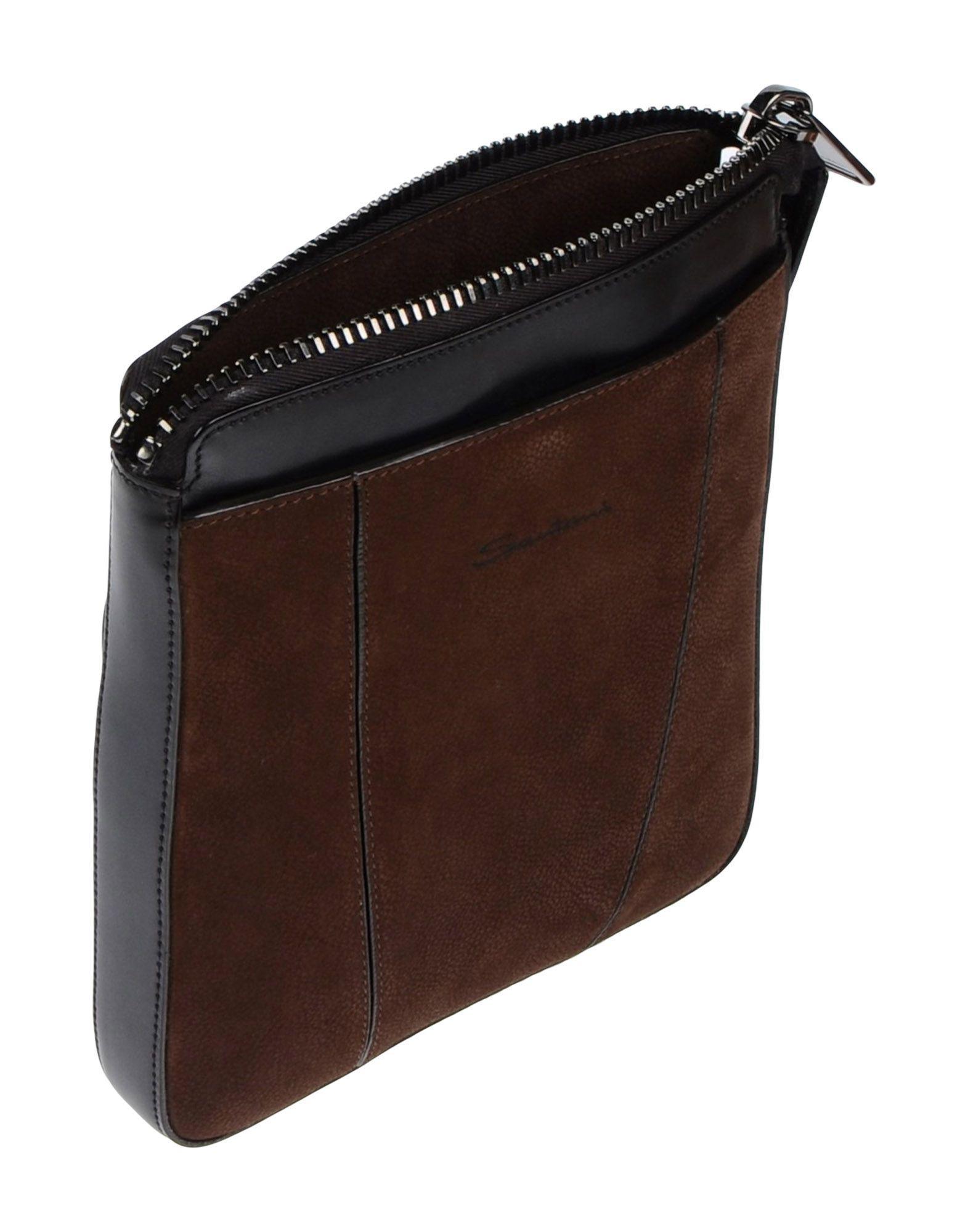 Santoni Leather Cross-body Bag in Dark Brown (Brown) for Men