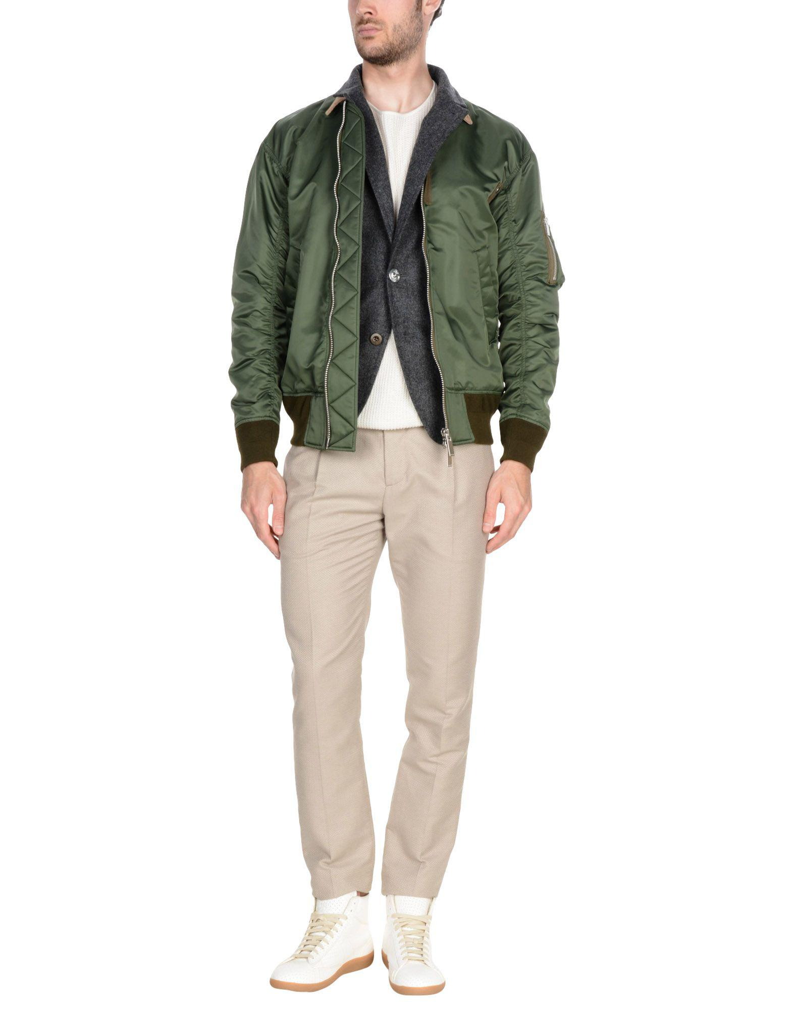 Sacai Leather Jacket in Military Green (Green) for Men