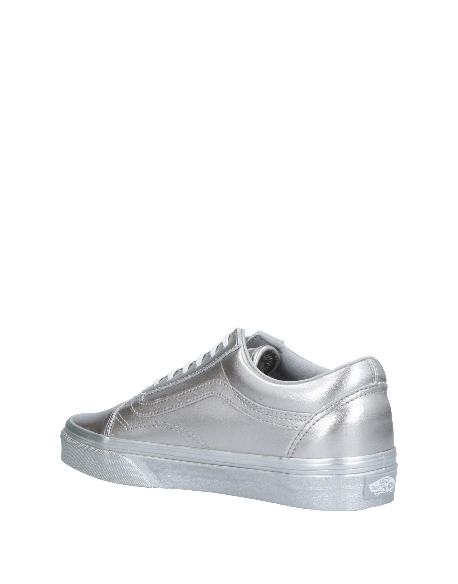 Vans Leather Low-tops & Sneakers in Silver (Metallic)