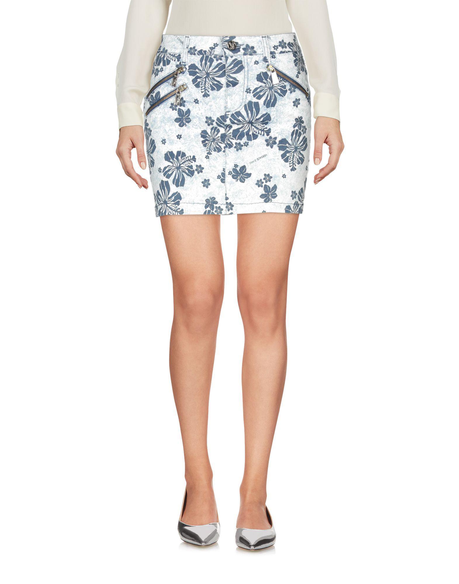 Mini-jupe Cuir Versace Jeans Couture en coloris Bleu