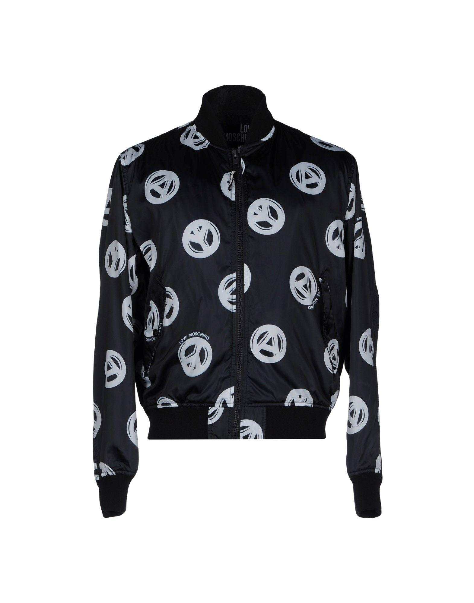Love Moschino Bomber Jacket With Peace Print In Black For