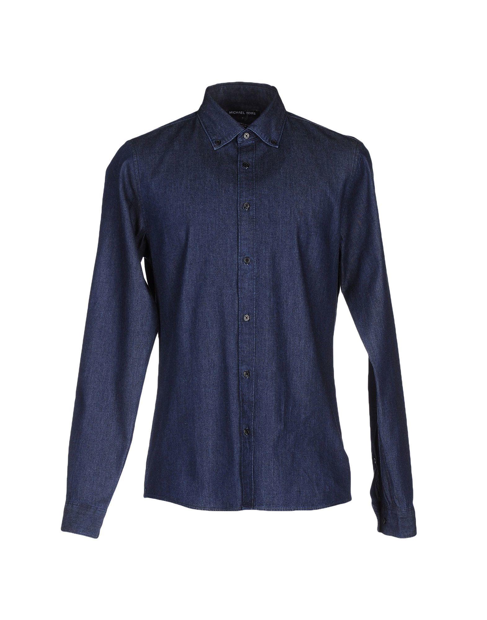 michael kors denim shirt in blue for men lyst. Black Bedroom Furniture Sets. Home Design Ideas