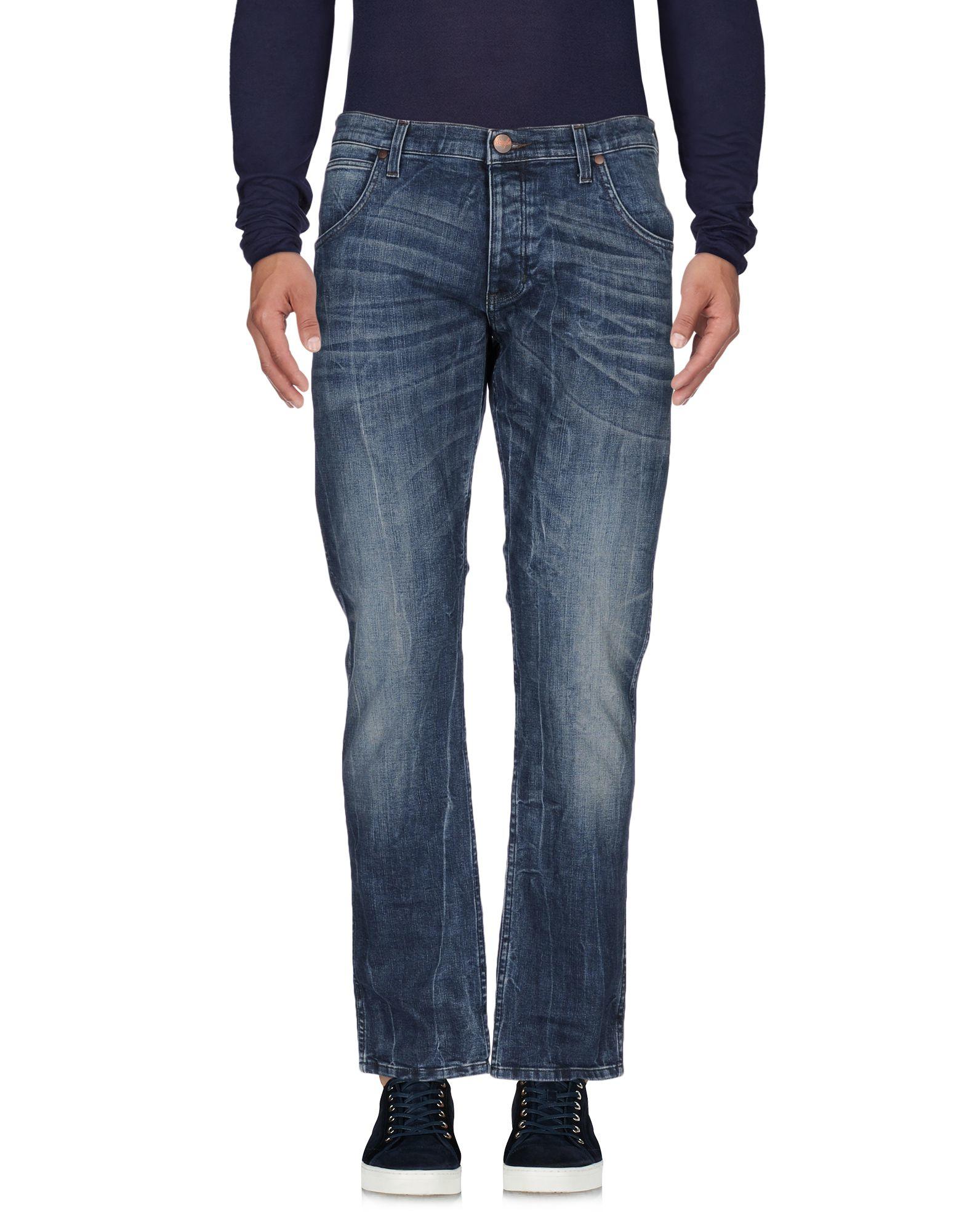 Lyst wrangler denim pants in blue for men for Wrangler denim shirts uk