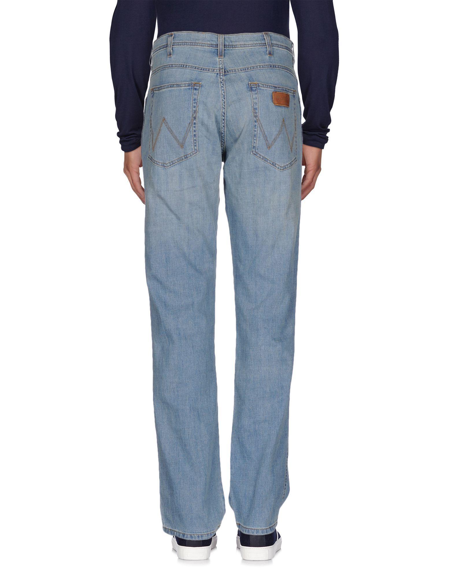 Wrangler denim trousers in blue for men lyst for Wrangler denim shirts uk