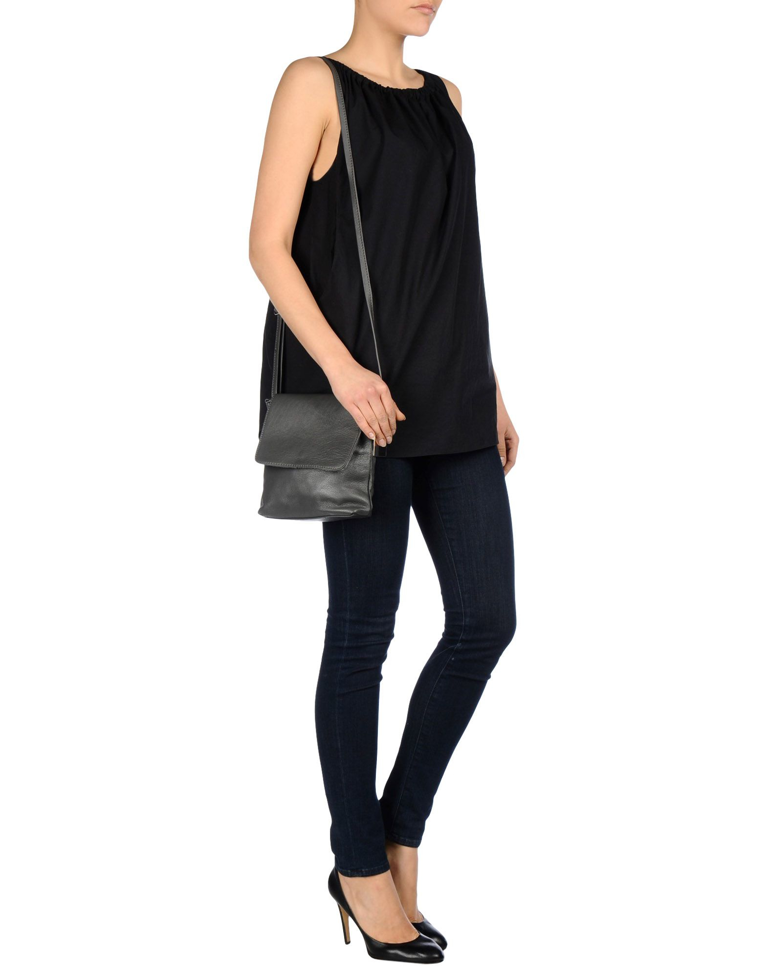 Poema Leather Cross-body Bag in Lead (Grey)