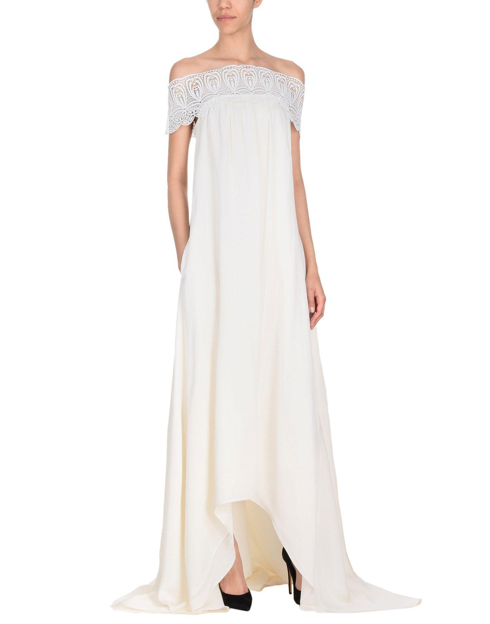 Self-Portrait Lace Long Dress in Ivory (White)