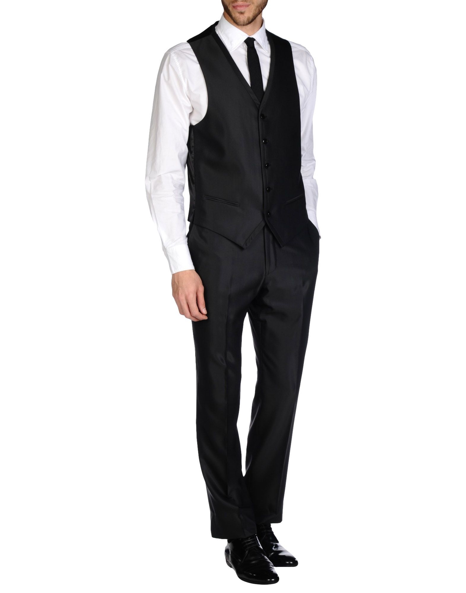 Lubiam Satin Suit in Black for Men