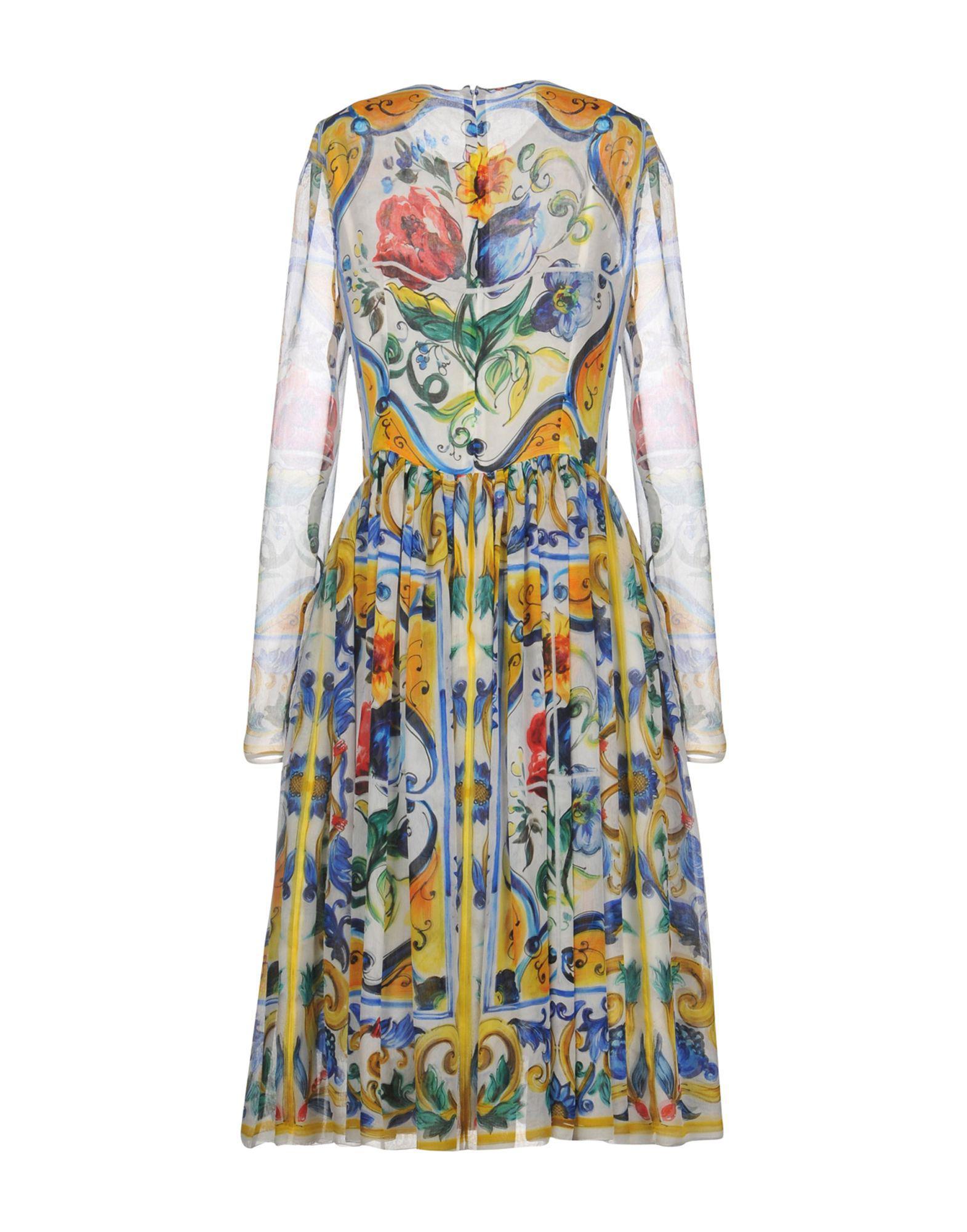 Robe aux genoux Mousseline de soie Dolce & Gabbana en coloris Blanc