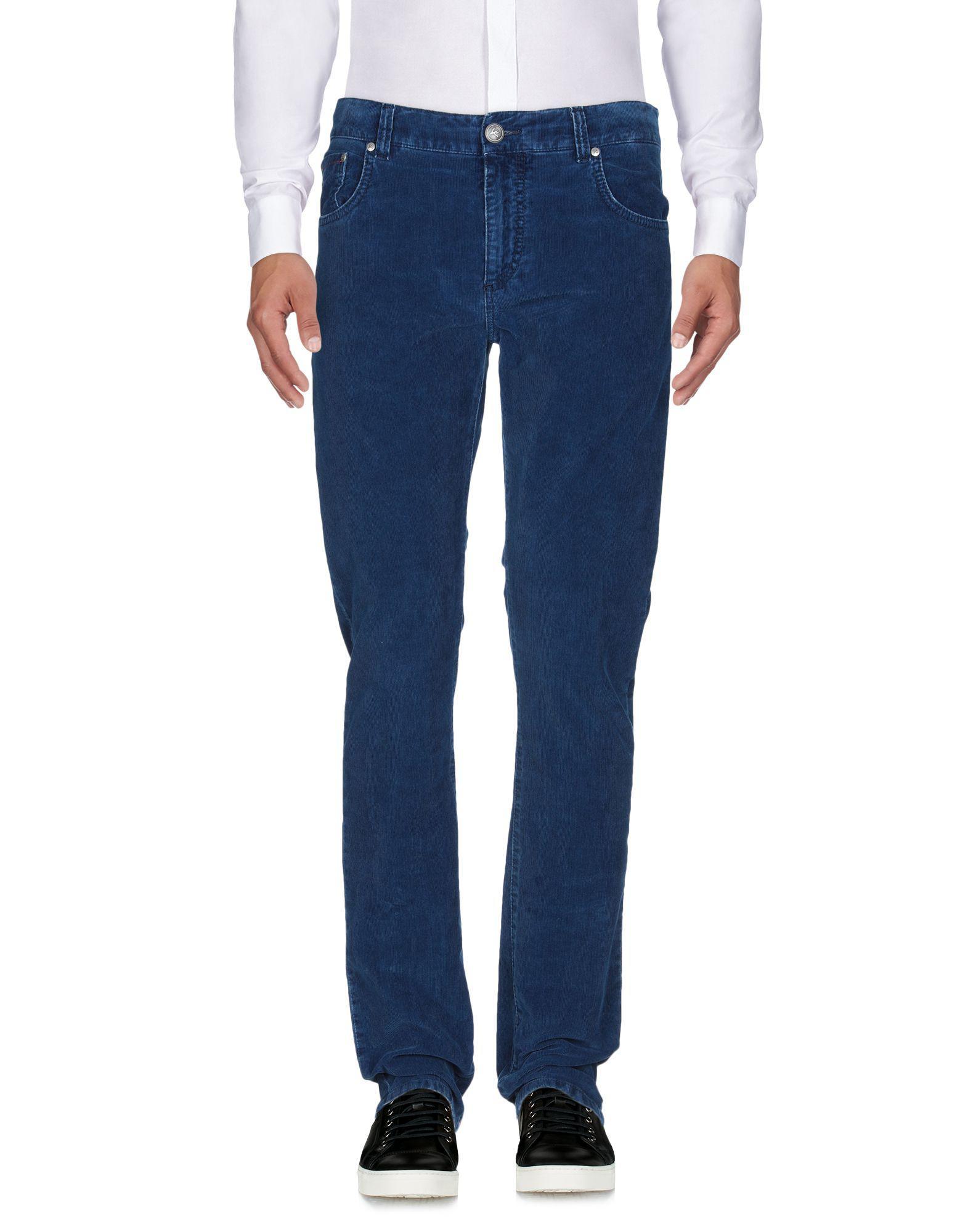 Isaia Velvet Casual Pants in Blue for Men