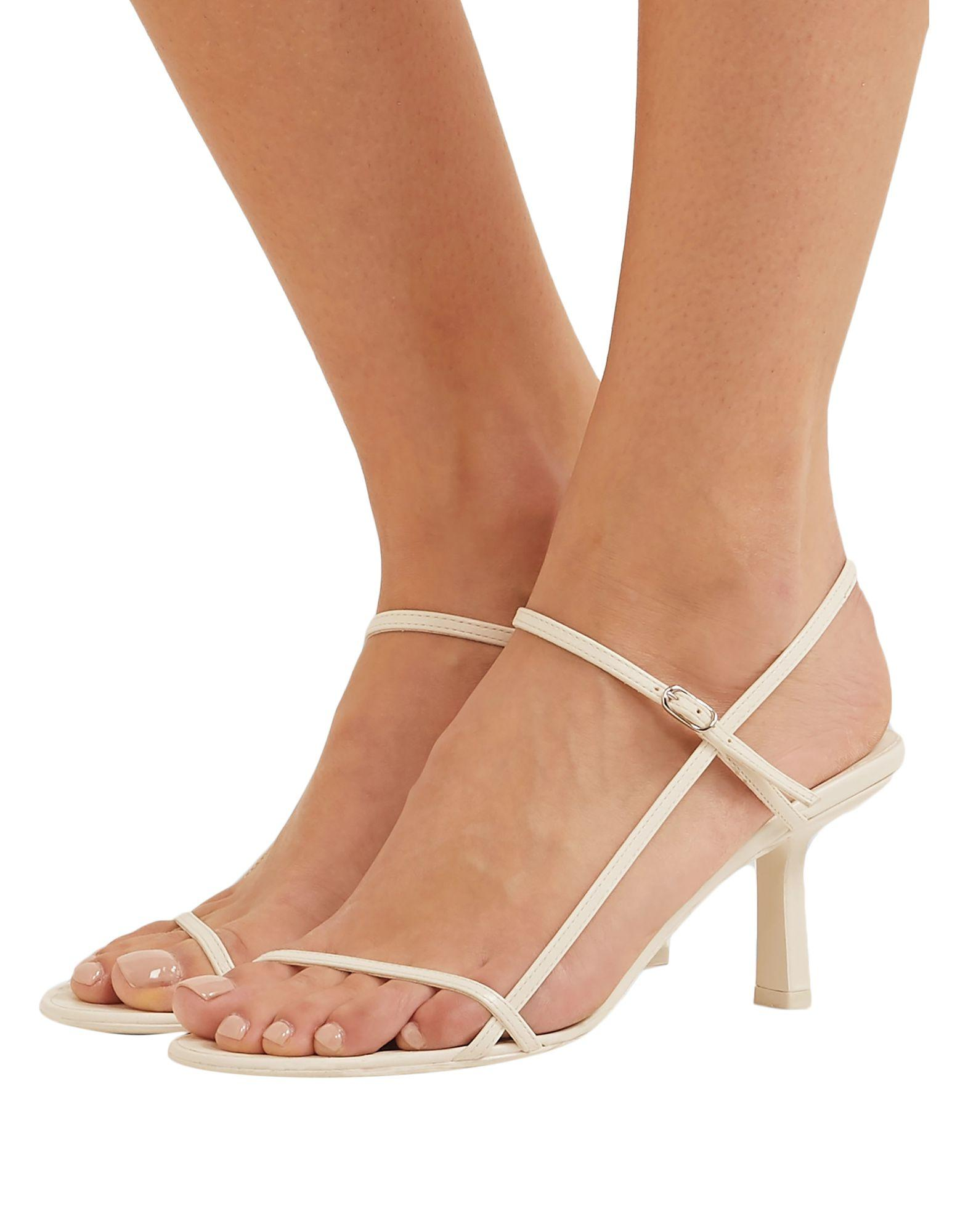 The Row Bare Leather Sandals in White