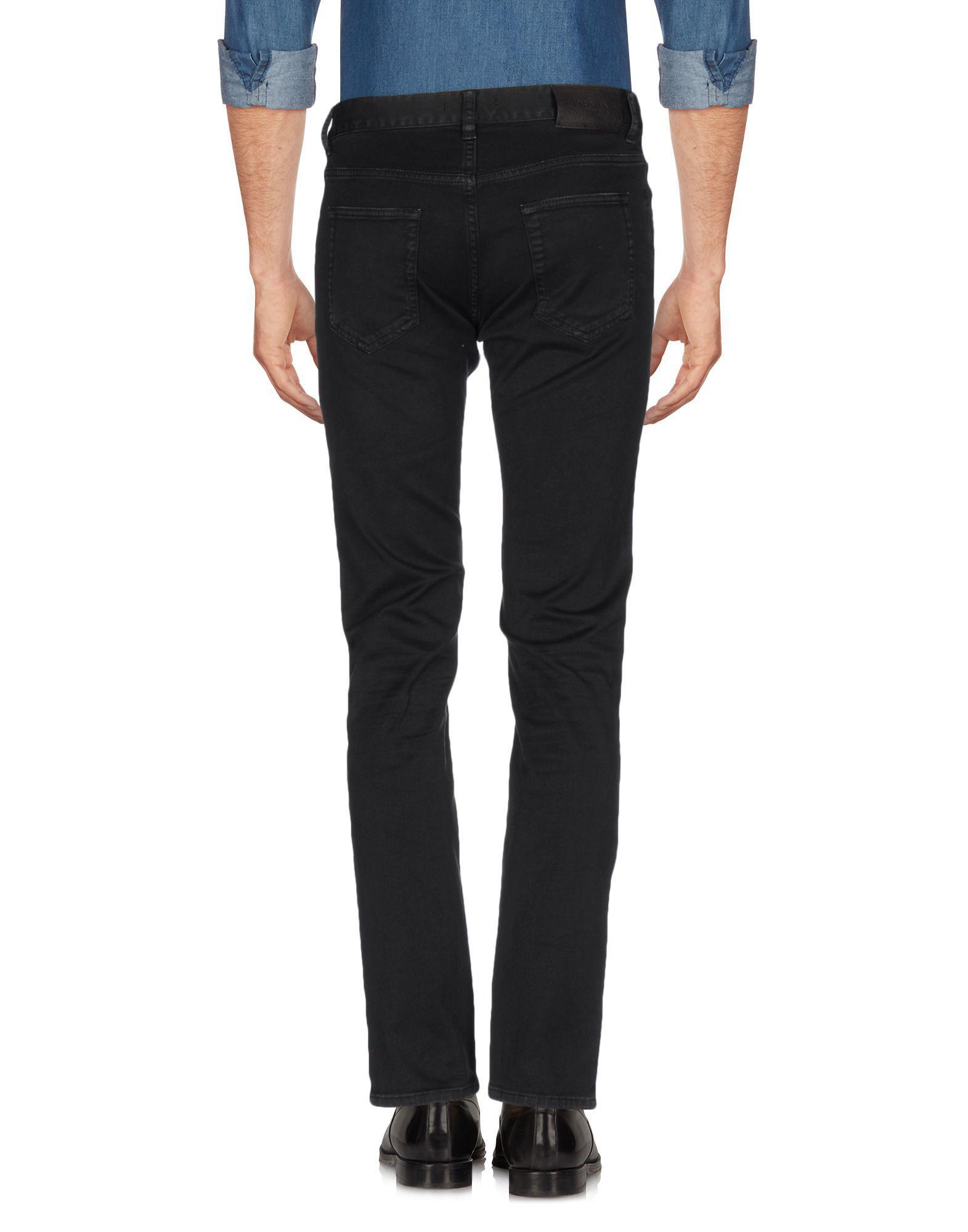 Prada Leather Casual Pants in Black for Men