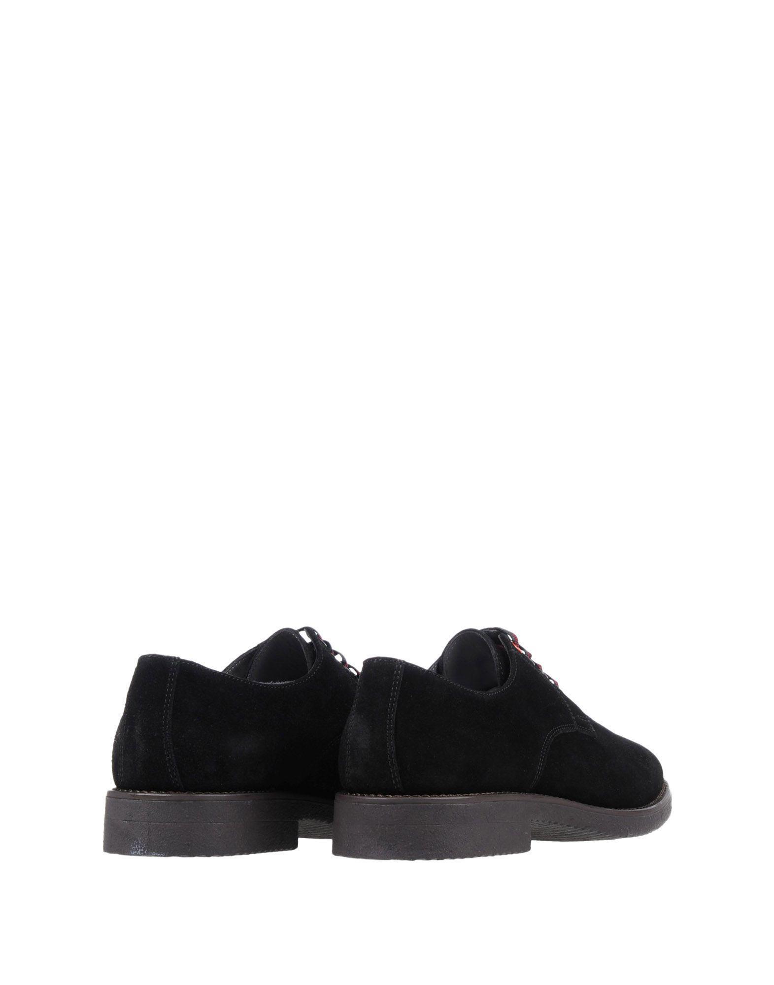Zapatos de cordones Pollini de Ante de color Negro para hombre