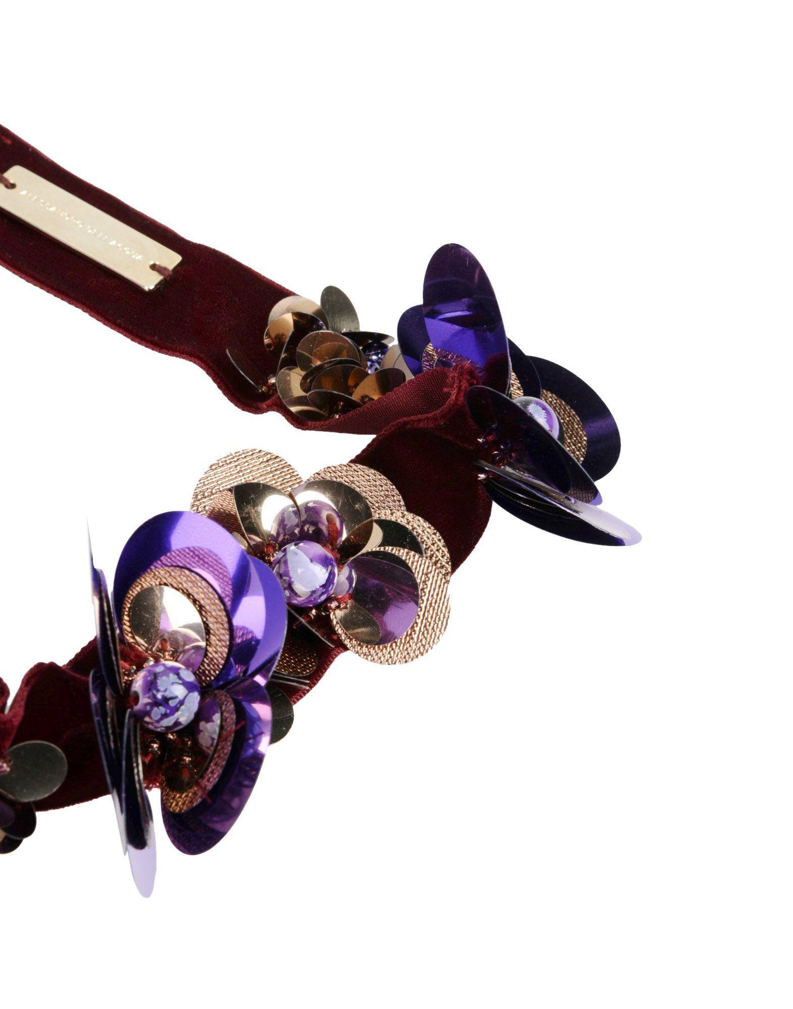 Alessandro Dell'acqua Velvet Necklace in Purple