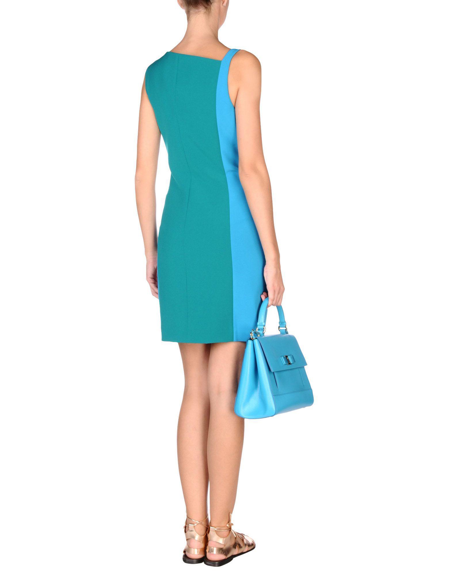 lyst versace short dress in blue