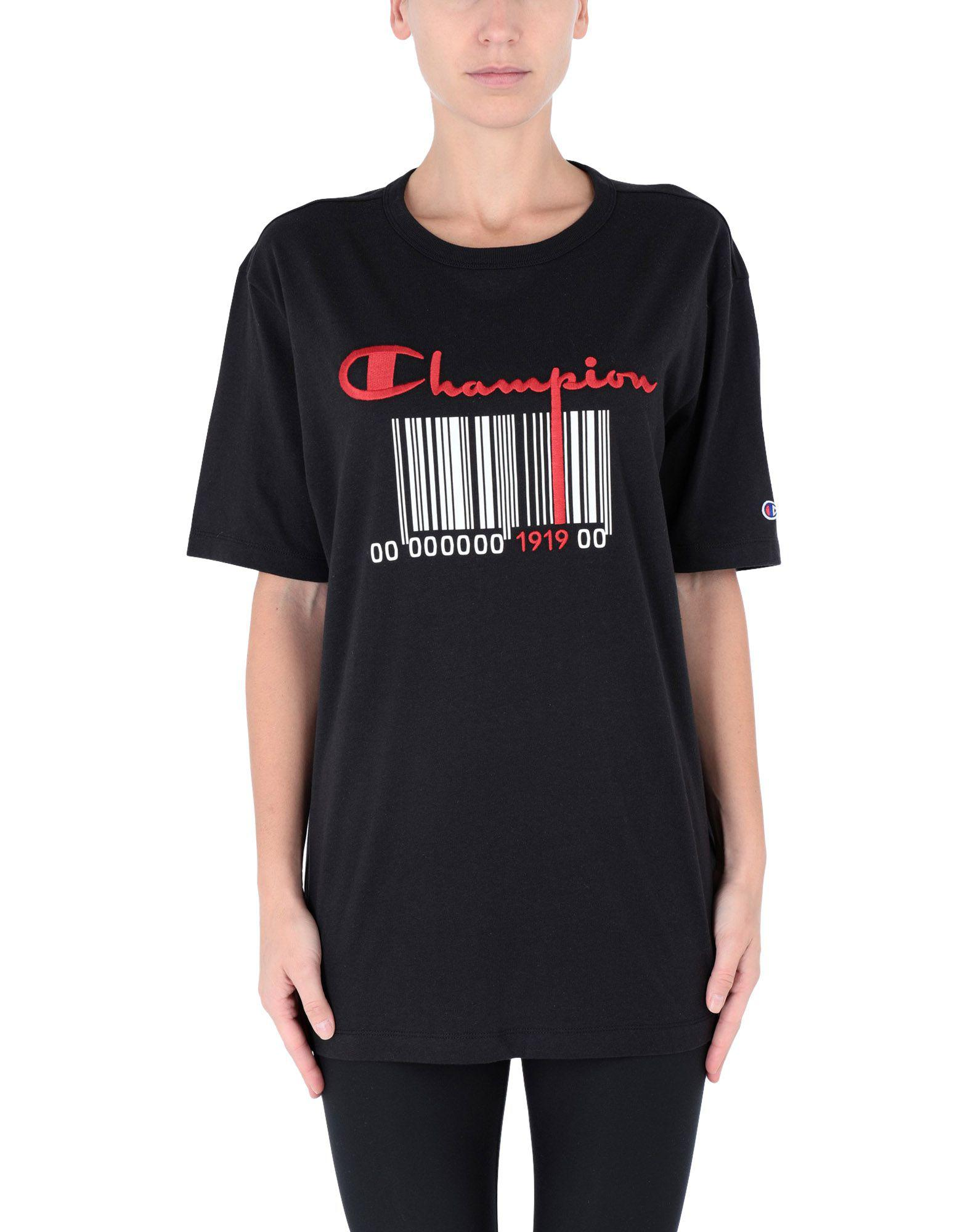 En Champion Noir Lyst T Shirt Coloris Zcacpv4