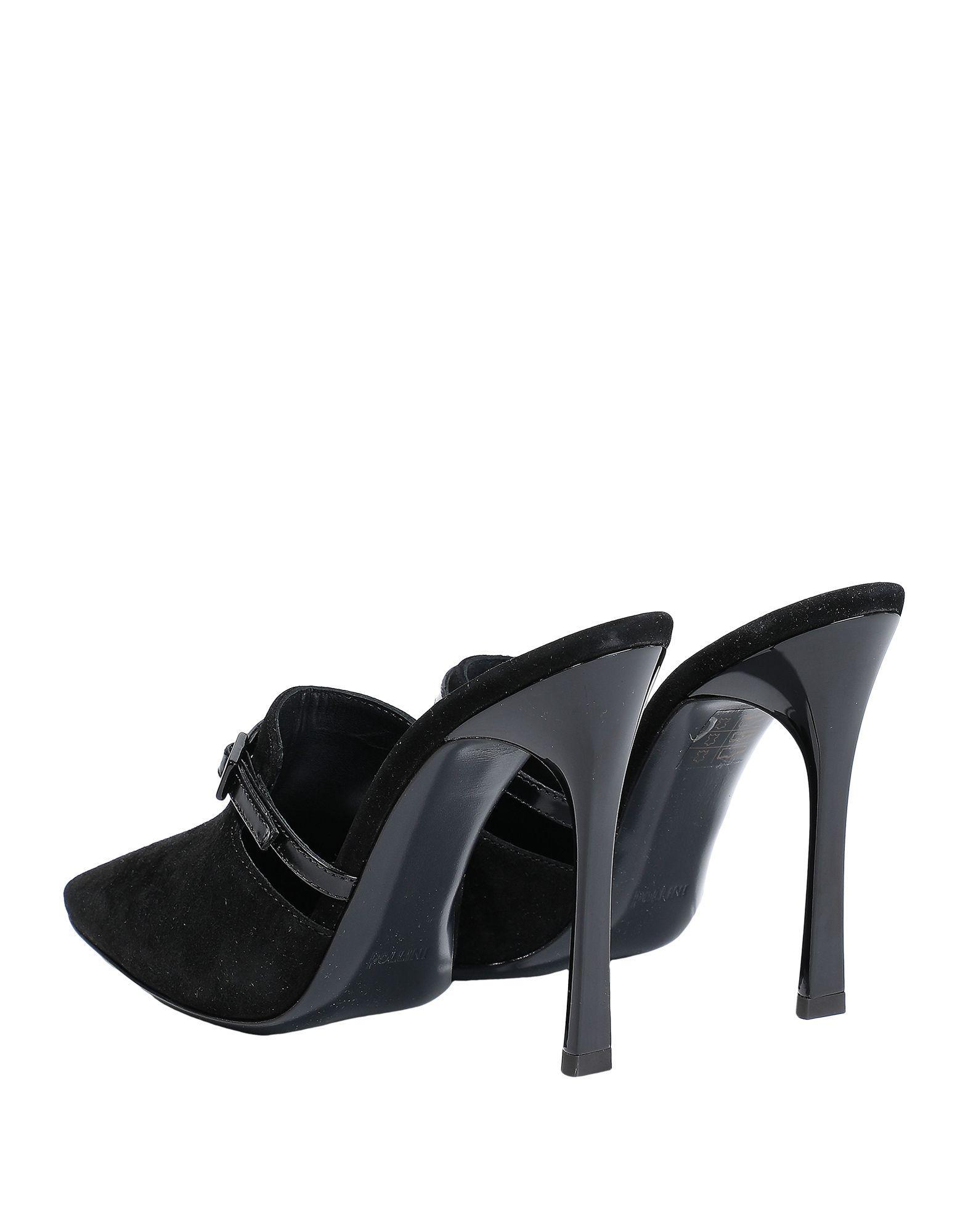 Mules & Zuecos Pollini de Ante de color Negro