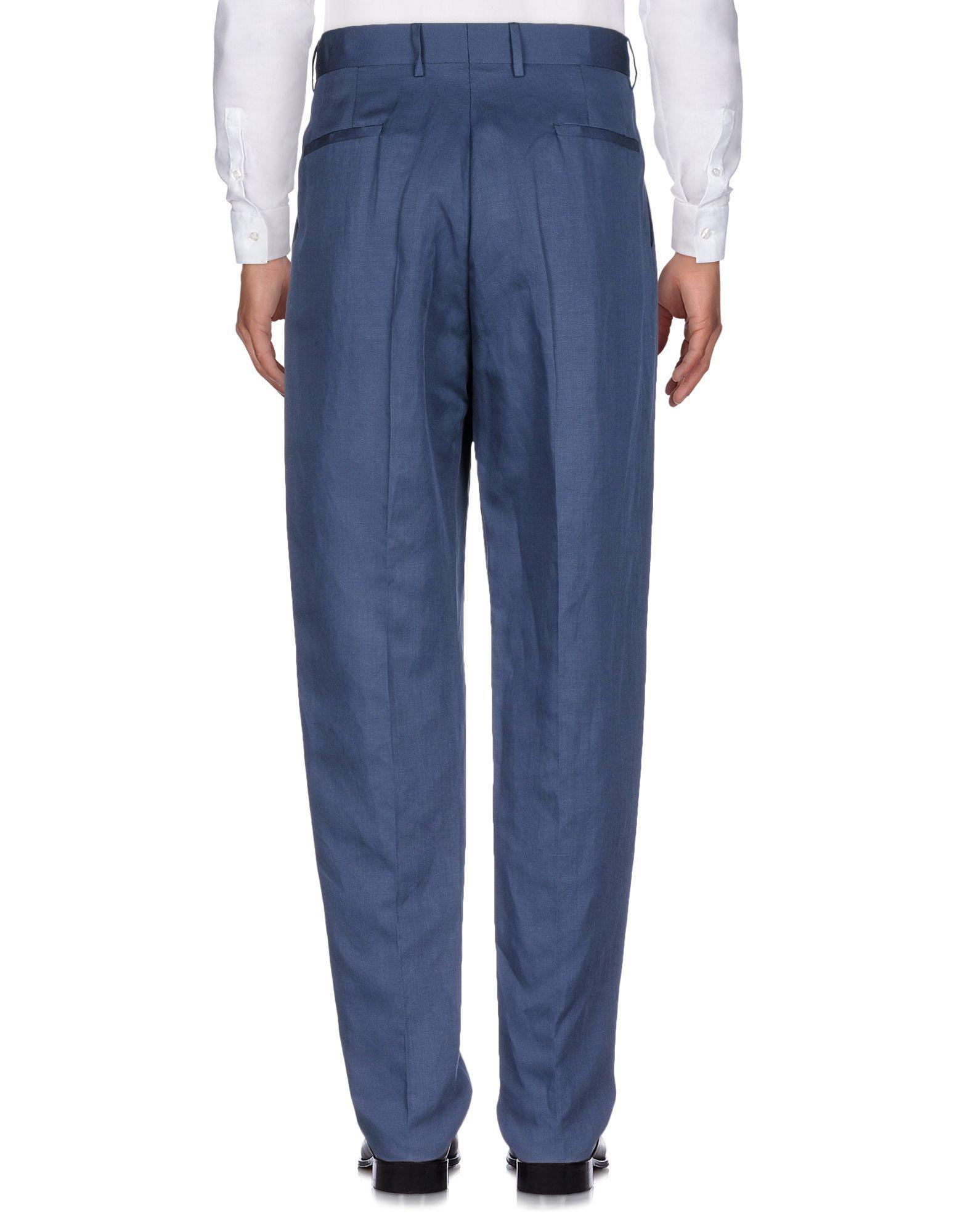 Umit Benan Linen Casual Pants in Dark Blue (Blue) for Men