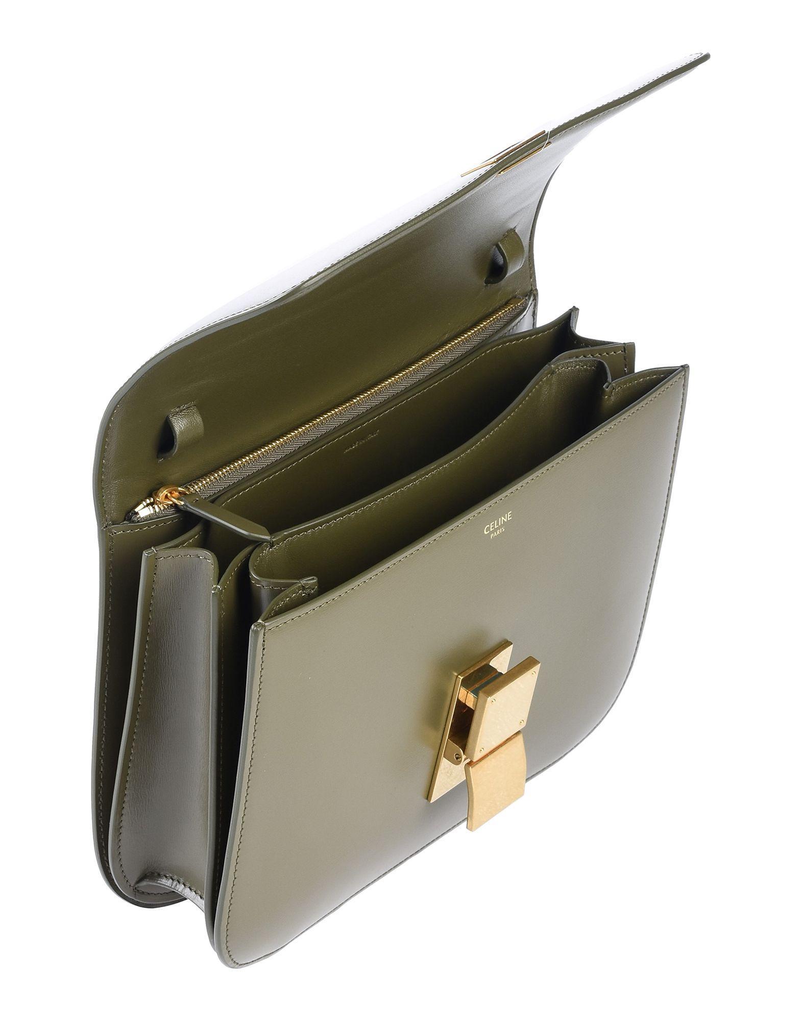 Celine Leder Handtaschen in Grün Q3gue