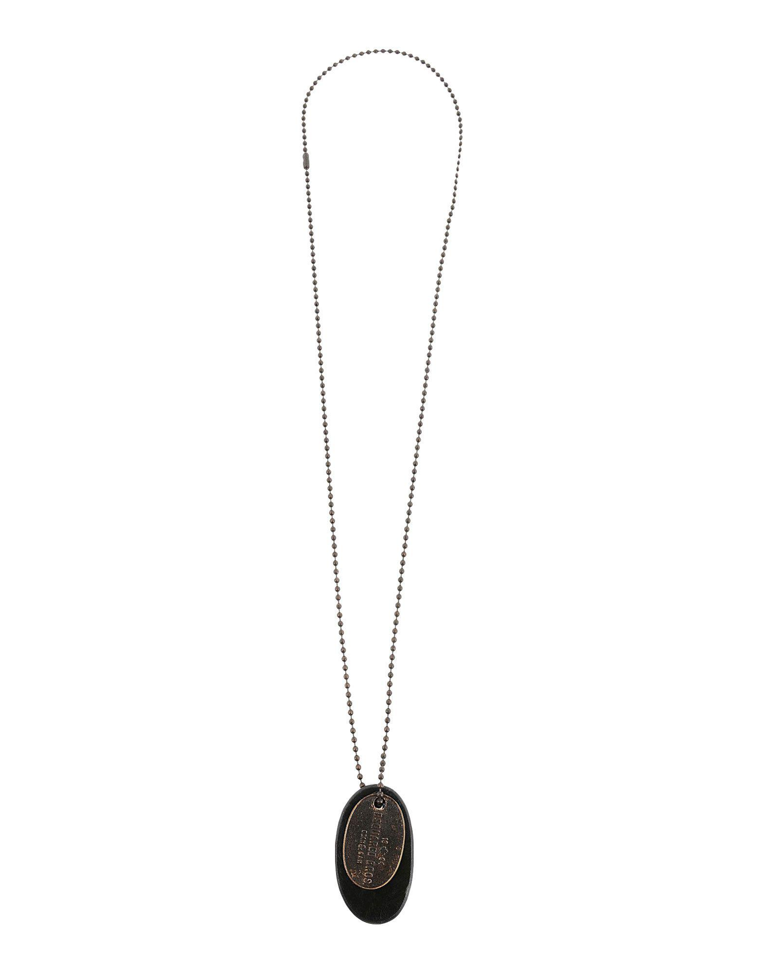 DSquared² Leather Necklace in Steel Grey (Metallic) for Men