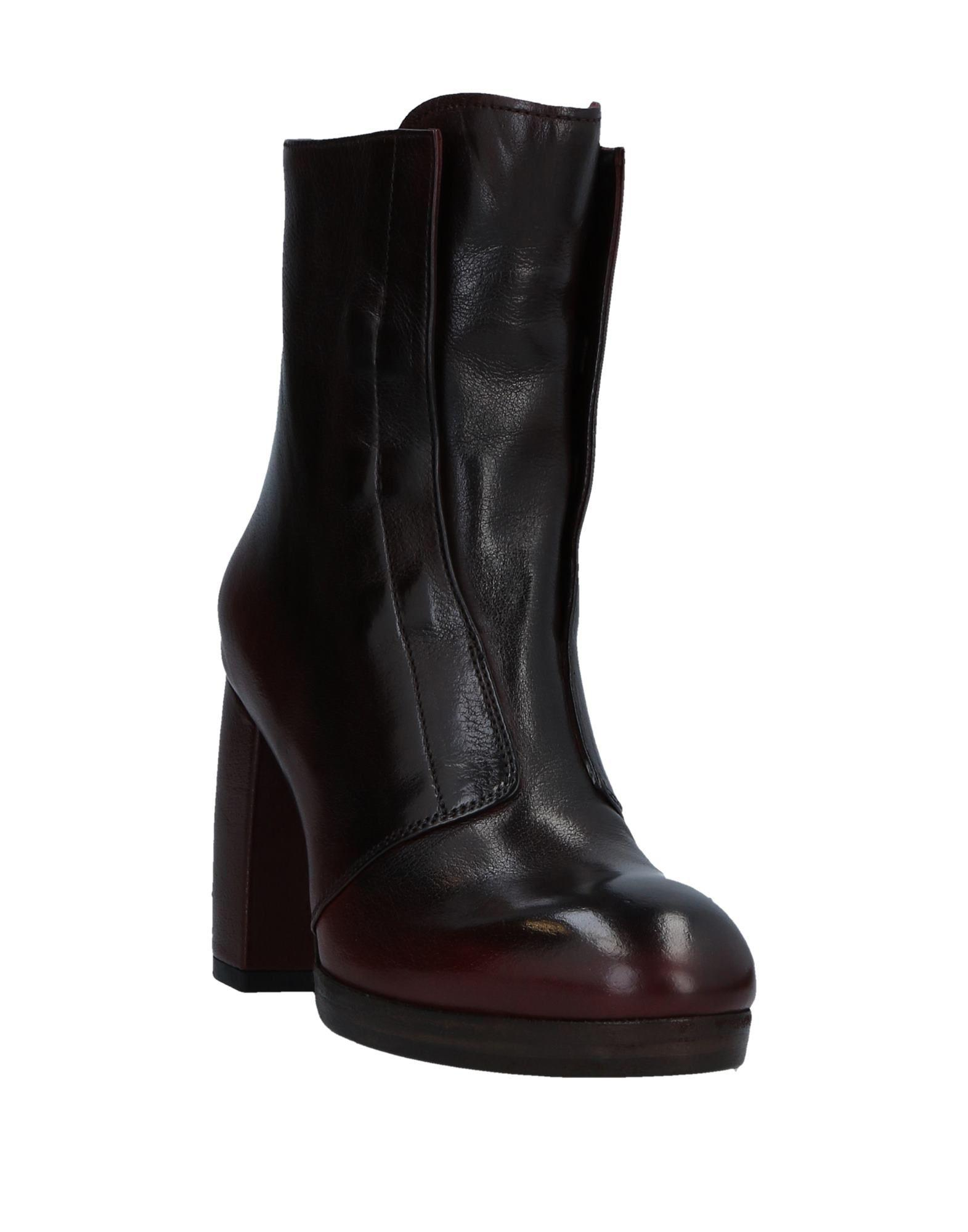 Officine Creative Leather Ankle Boots in Deep Purple (Black)