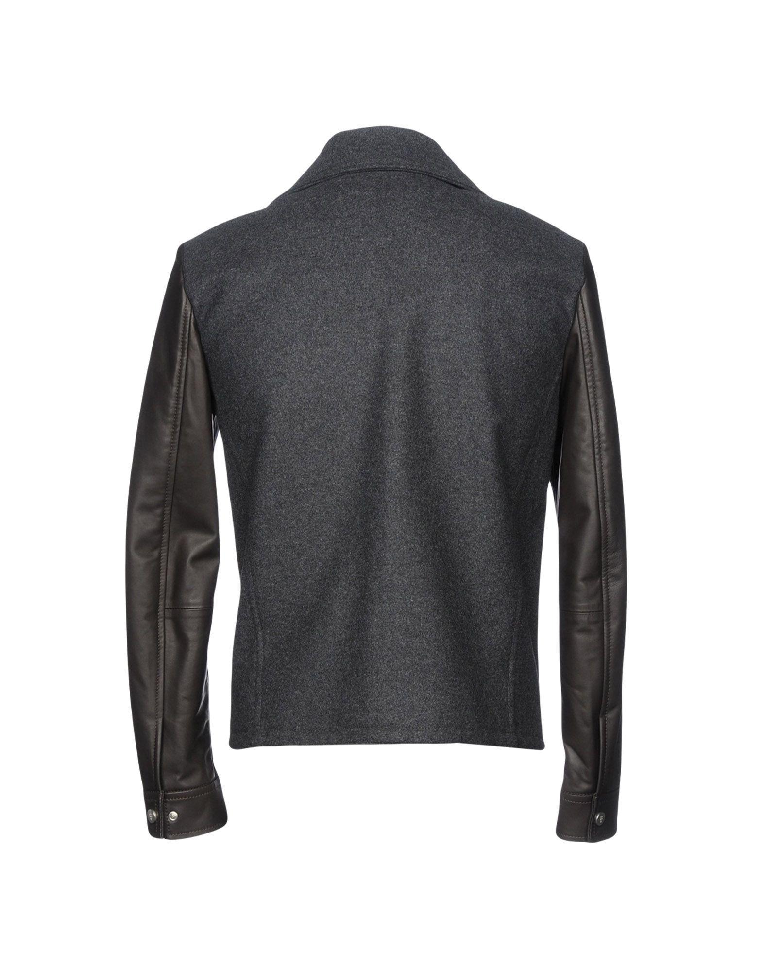 Eleventy Leather Jacket in Lead (Grey) for Men