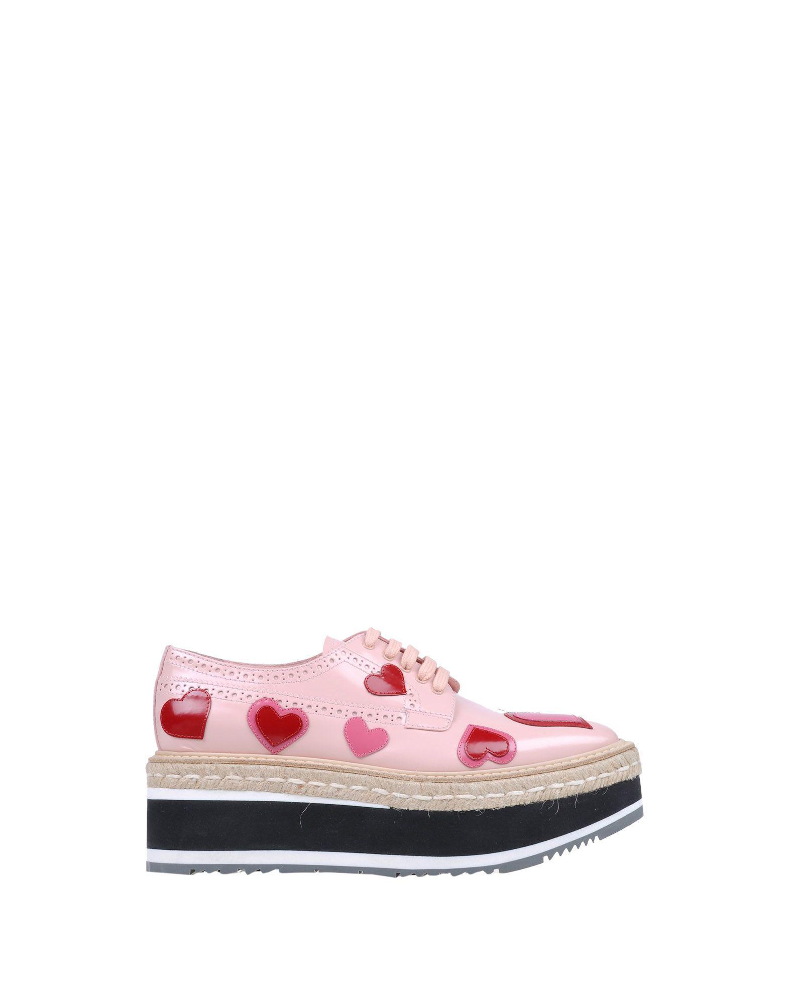 Zapatos de cordones Prada de Cuero de color Rosa