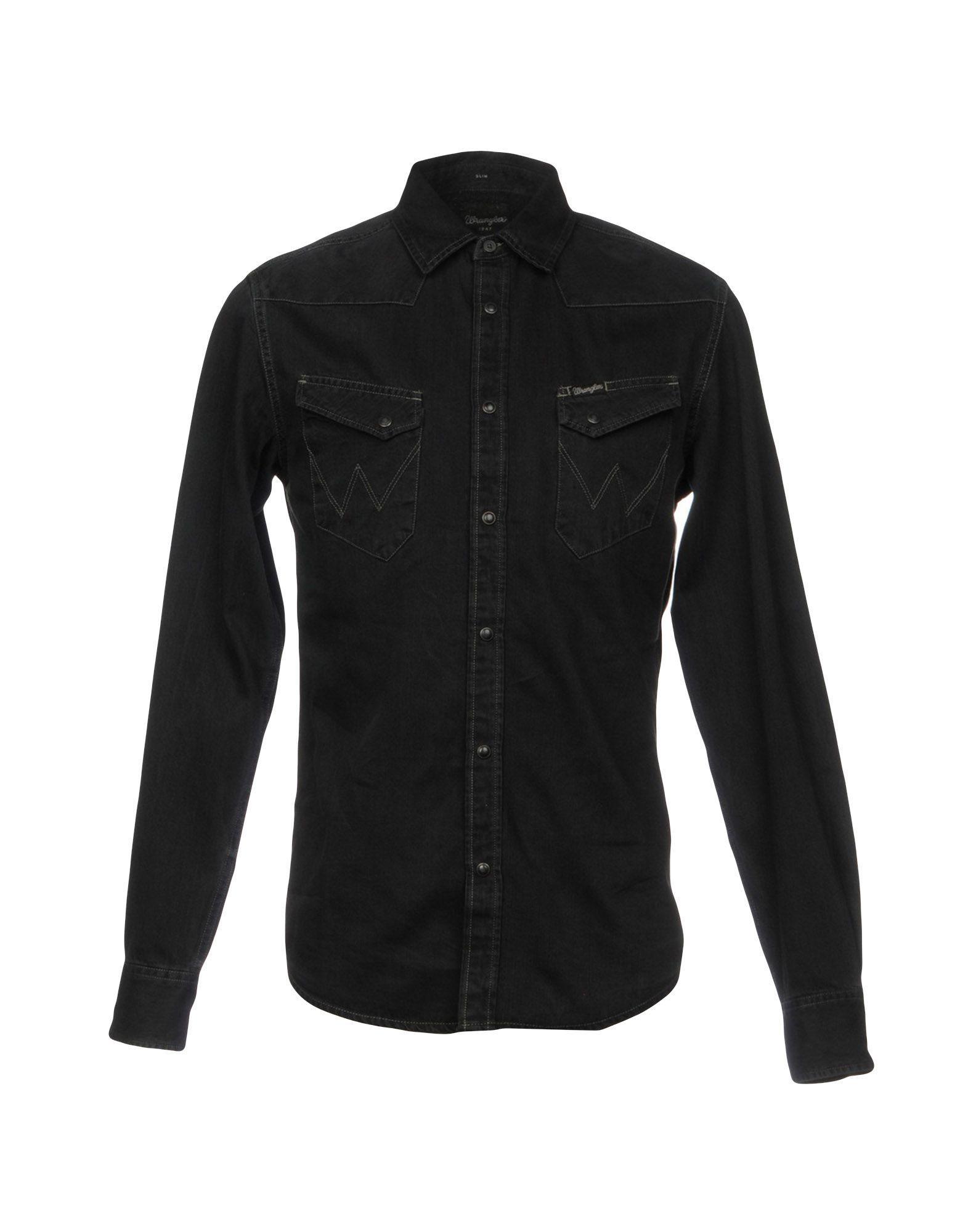 Lyst wrangler denim shirt in black for men for Wrangler denim shirts uk