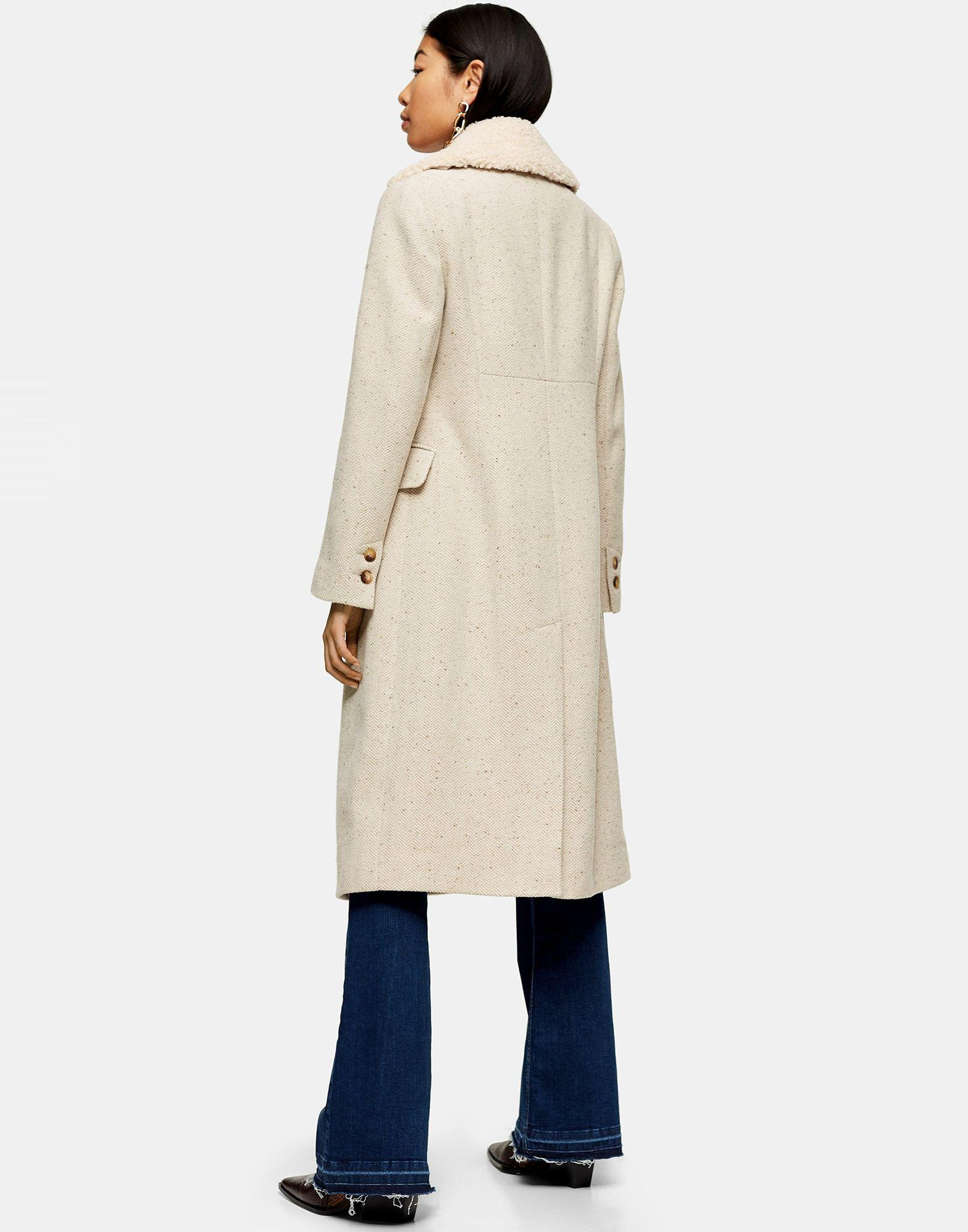 Manteau long Tweed TOPSHOP en coloris Neutre alYoN