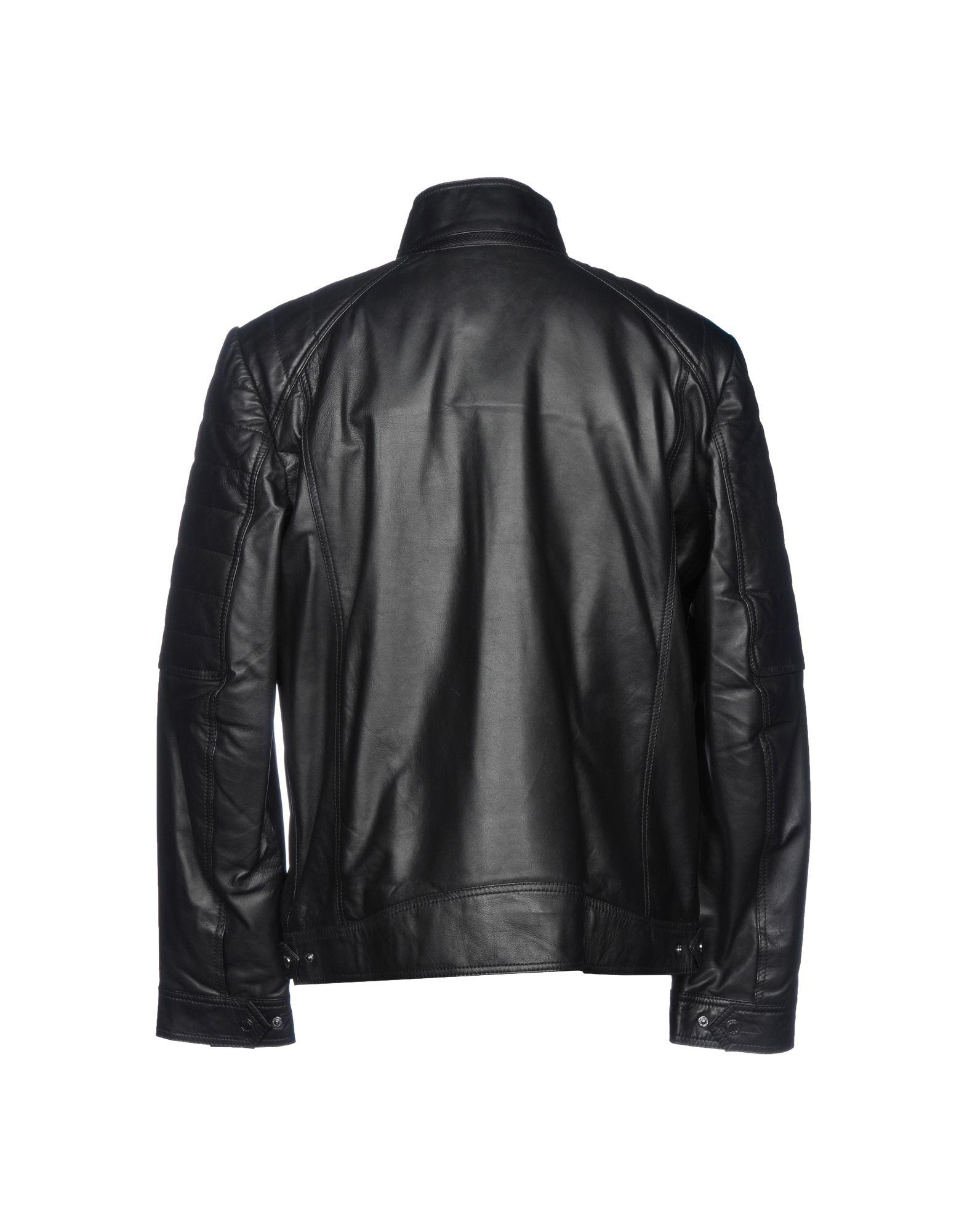Geox Leather Jacket in Black for Men