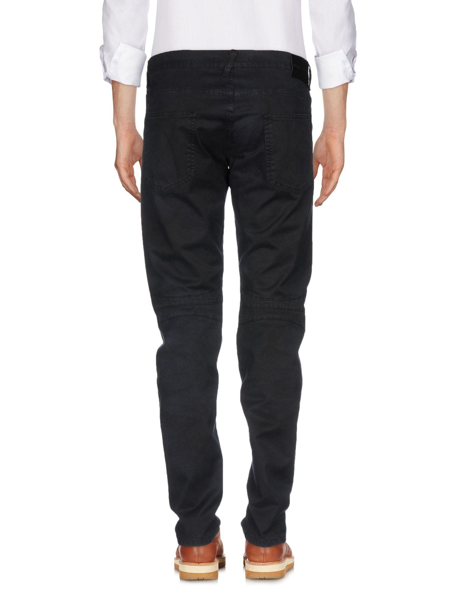 Balmain Leather Casual Trouser in Dark Blue (Blue) for Men