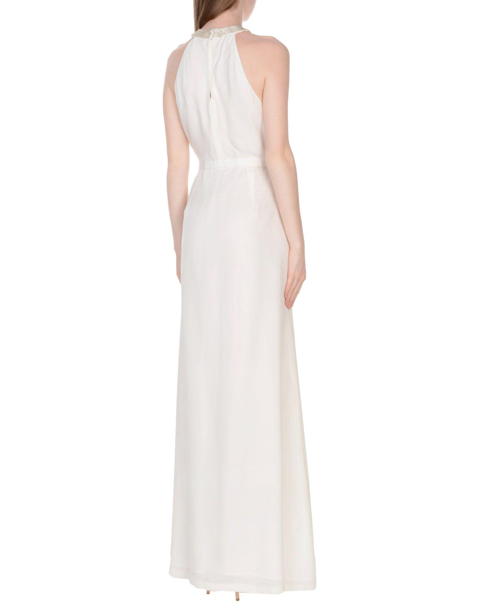 Raoul Satin Long Dress in Ivory (White)