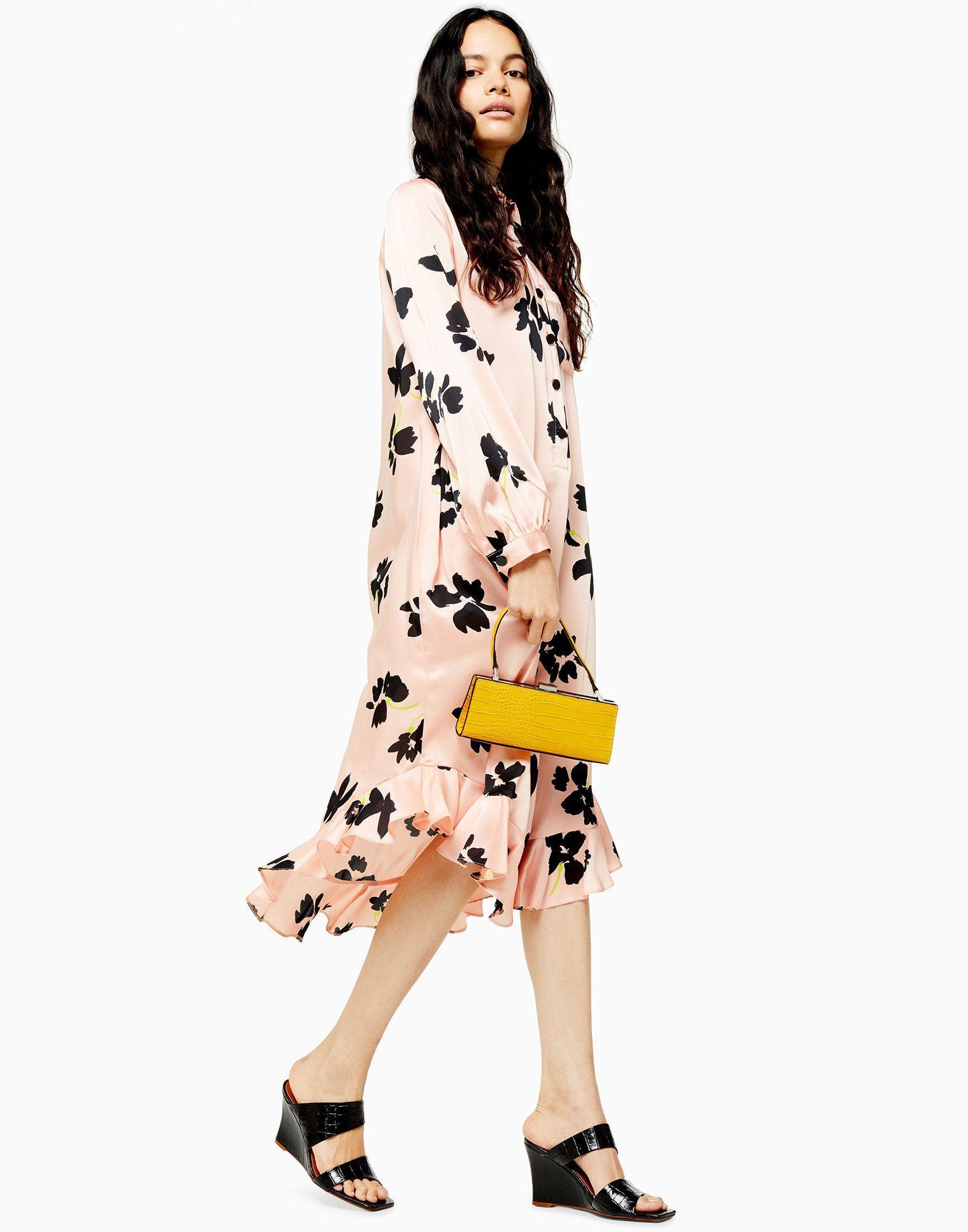 Mini robe à fleurs avec ourlet à volants Synthétique TOPSHOP en coloris Rose