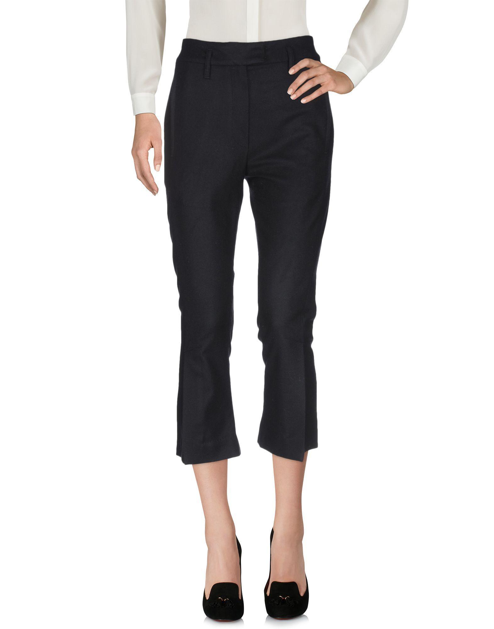 Pantalones Ann Demeulemeester de Franela de color Negro