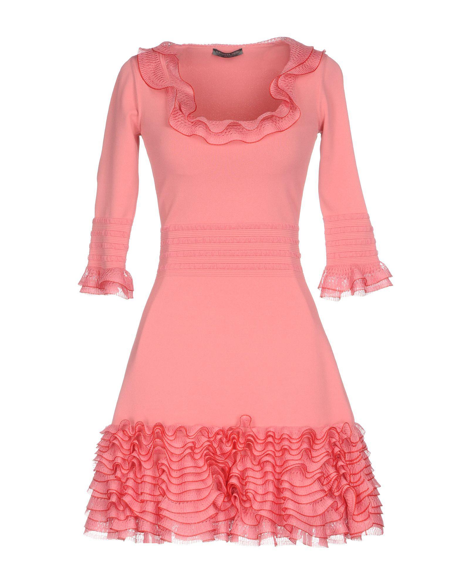 Lyst - Alexander mcqueen Short Dress in Pink