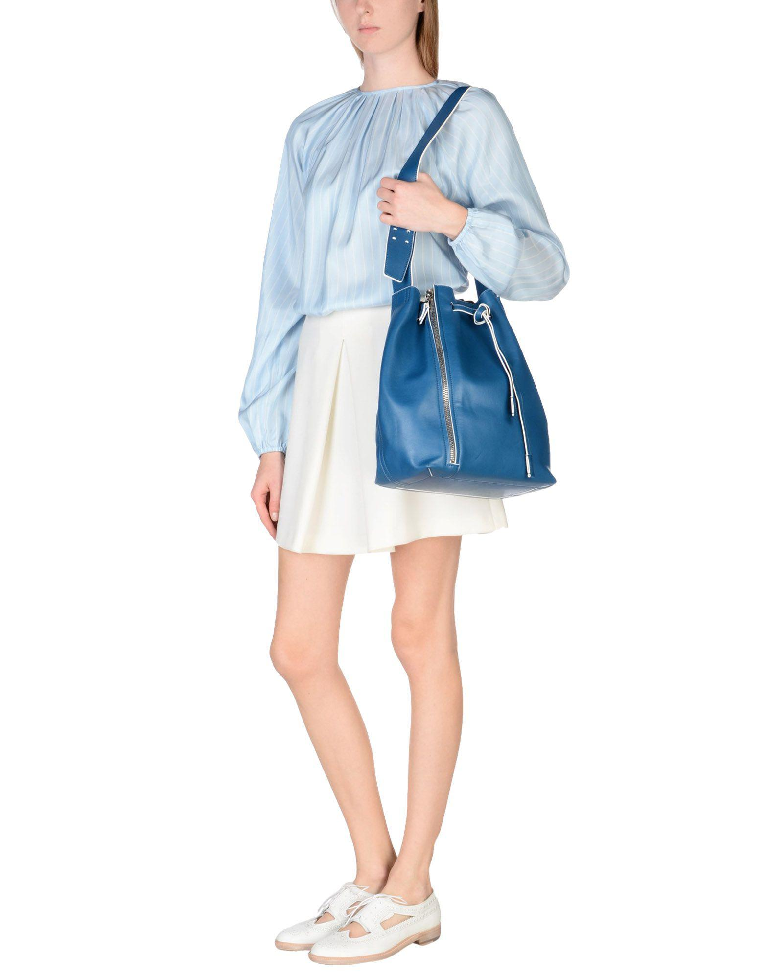 Elena Ghisellini Leather Cross-body Bag in Pastel Blue (Blue)