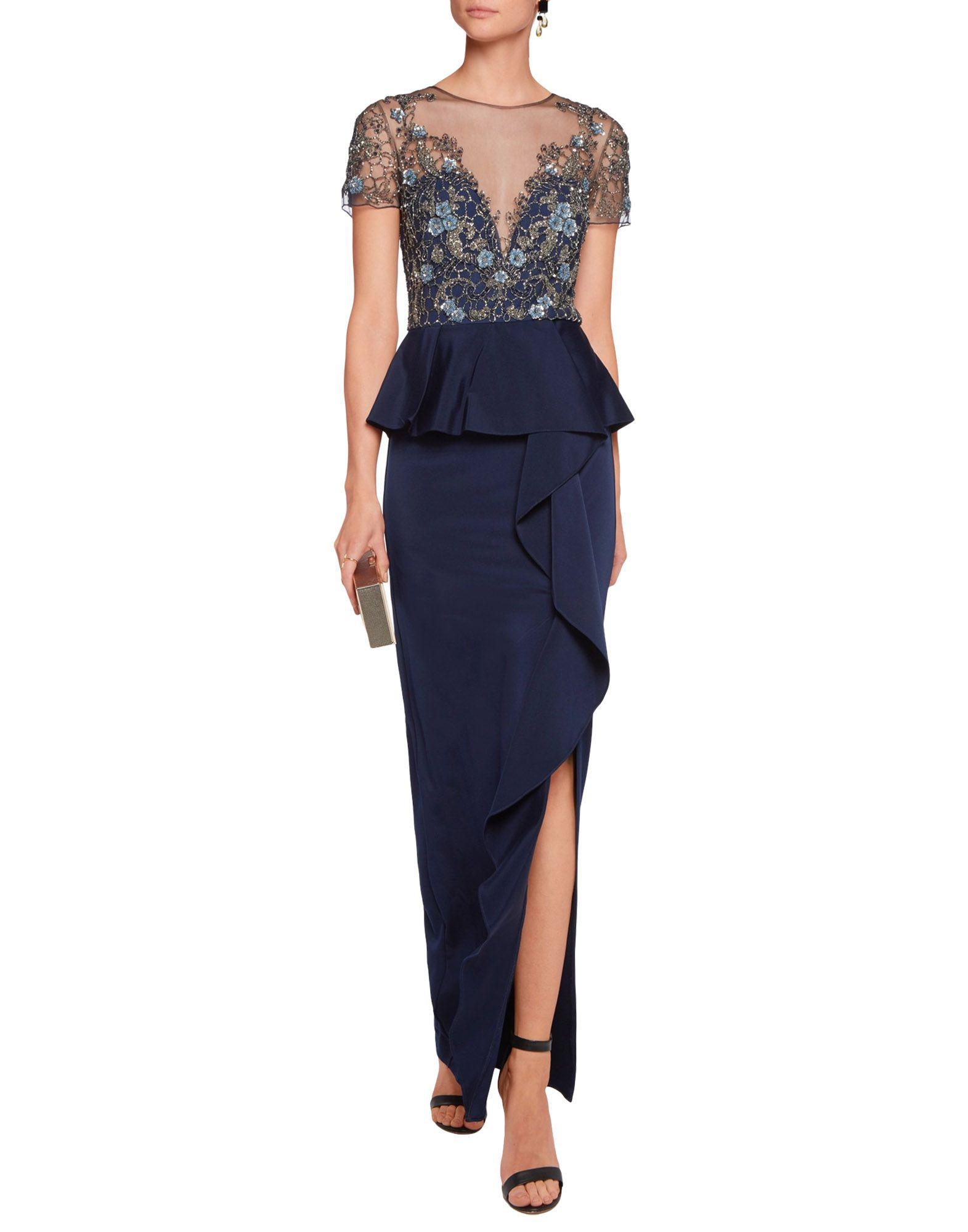 Marchesa notte Tweed Long Dresses in Dark Blue (Blue)
