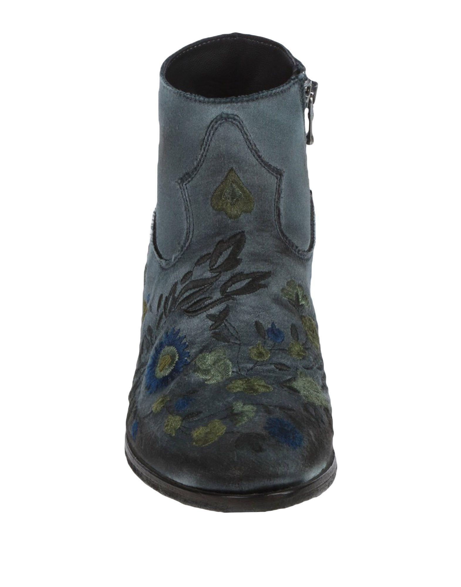 Strategia Leather Ankle Boots in Slate Blue (Blue)