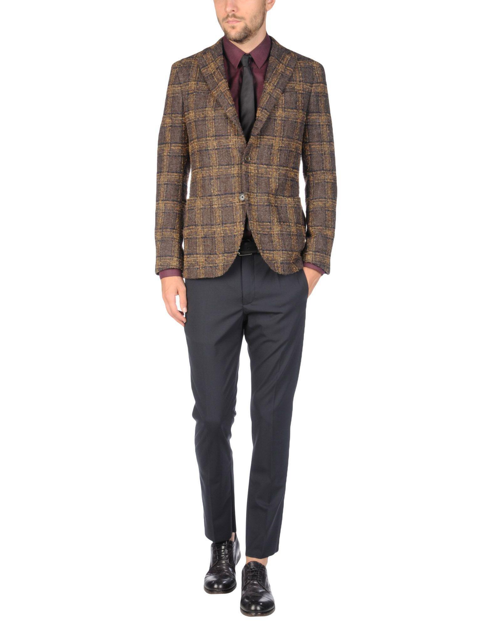 Lardini Tweed Blazer in Khaki (Blue) for Men