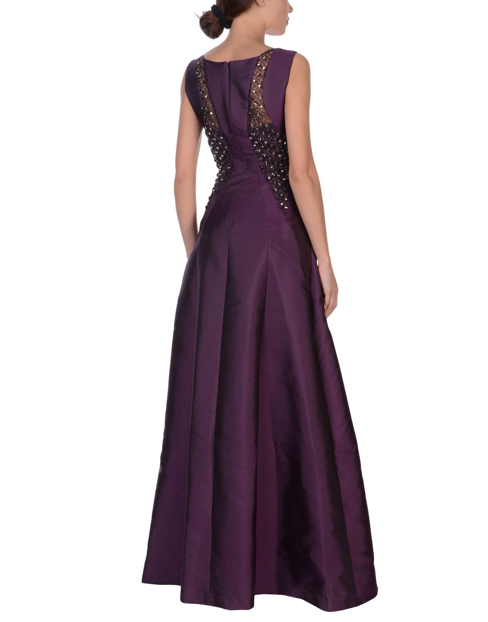 Alberta Ferretti Tulle Long Dress in Dark Purple (Purple)
