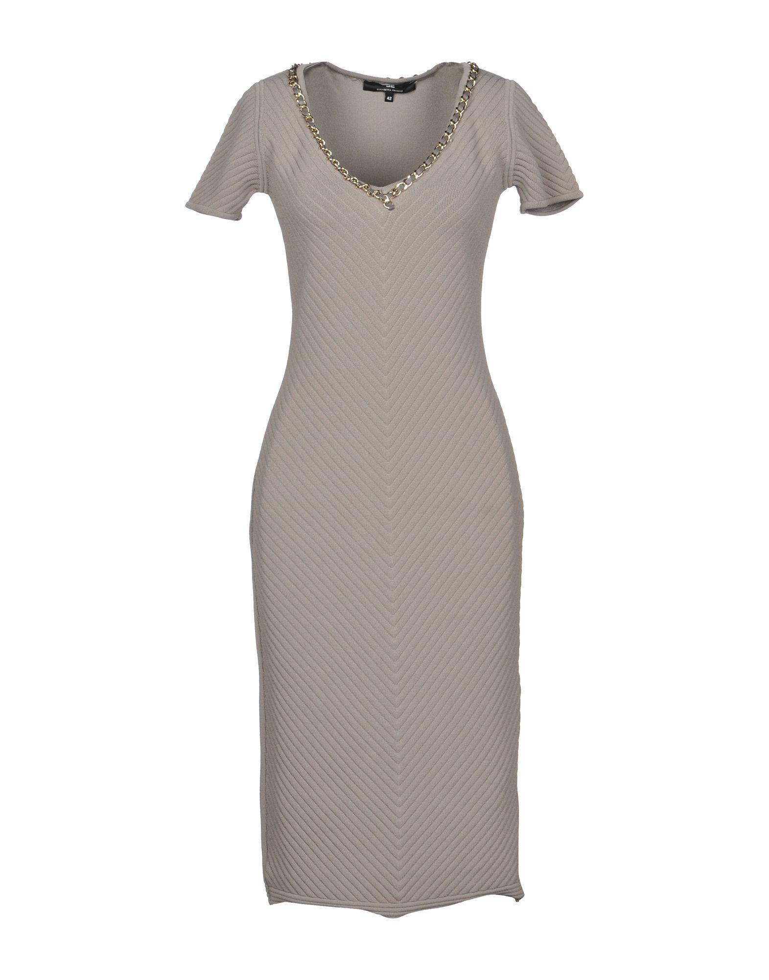 In Length Gray Dress Franchi Elisabetta Knee Lyst xnqO4XwtO8