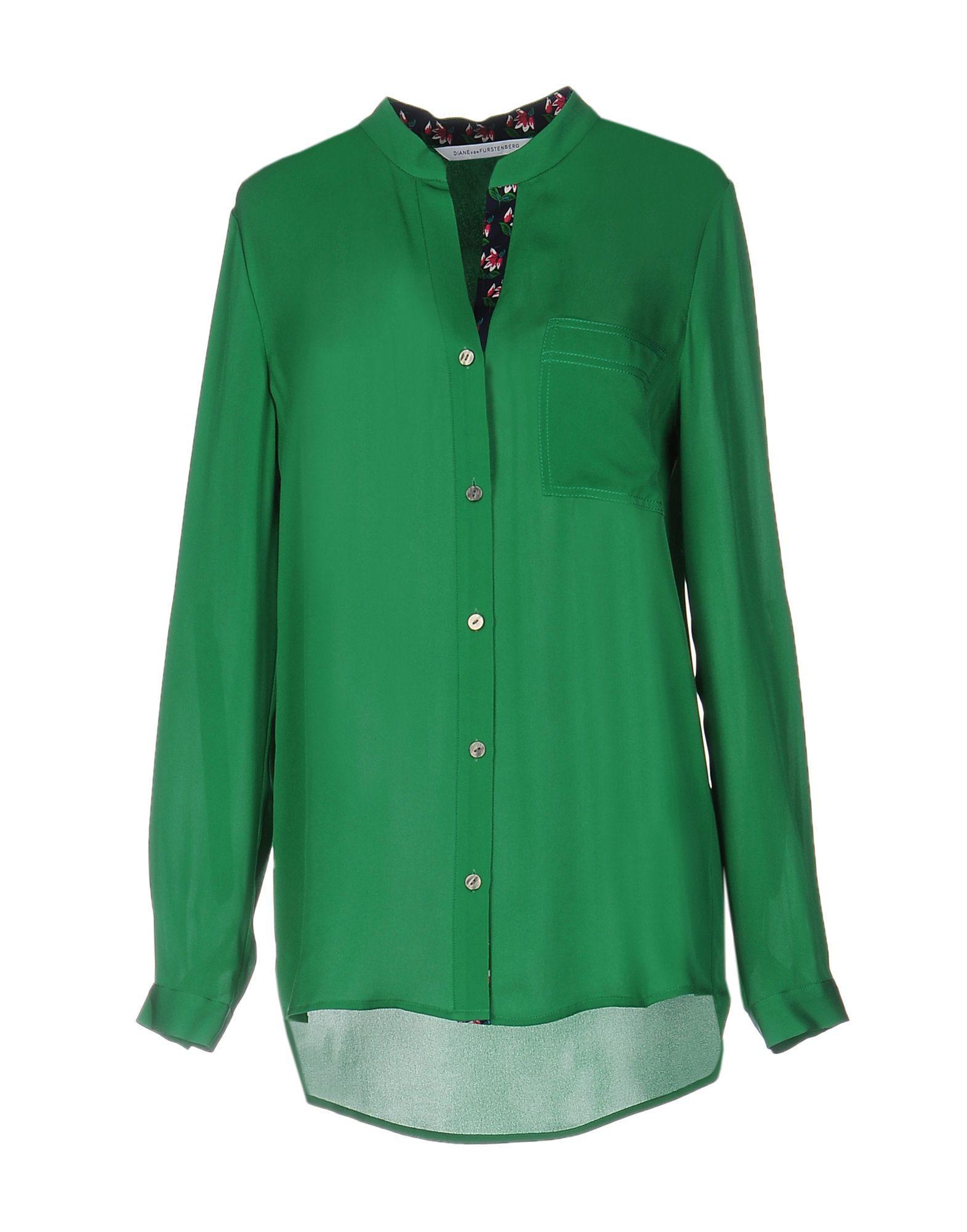 Lyst diane von furstenberg shirt in green for Diane von furstenberg shirt