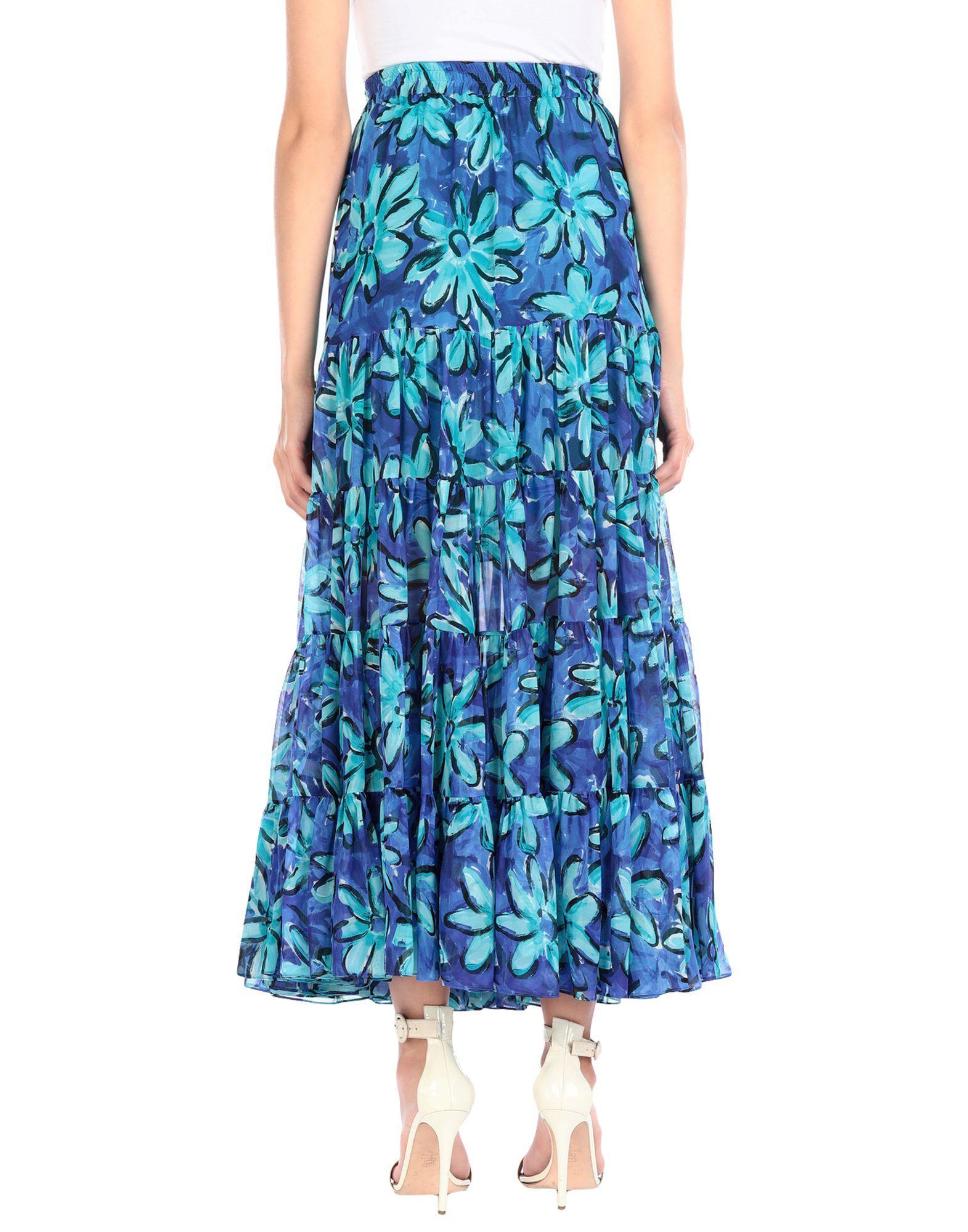 Jupe longue Mousseline de soie Michael Kors en coloris Bleu