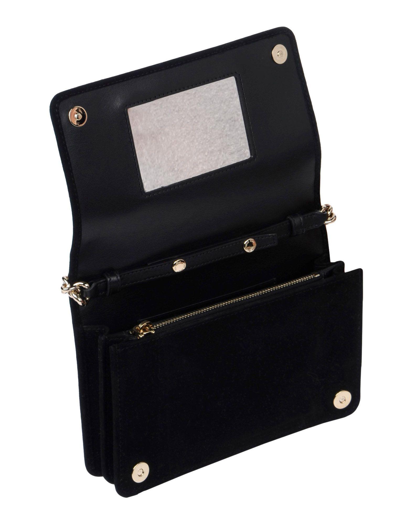 Miu Miu Suede Cross-body Bag in Black