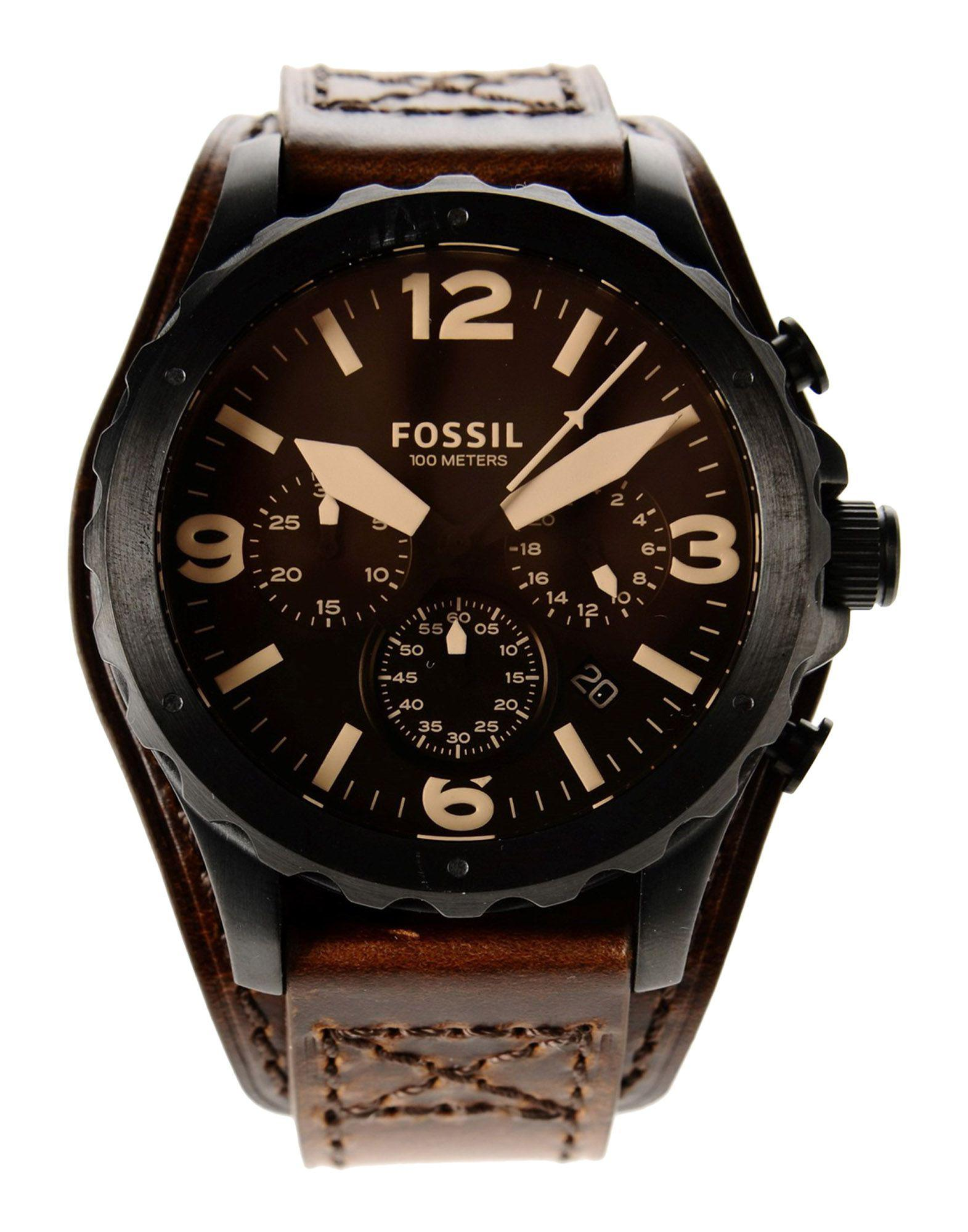 Fossil Leather Wrist Watch in Brown for Men - Lyst