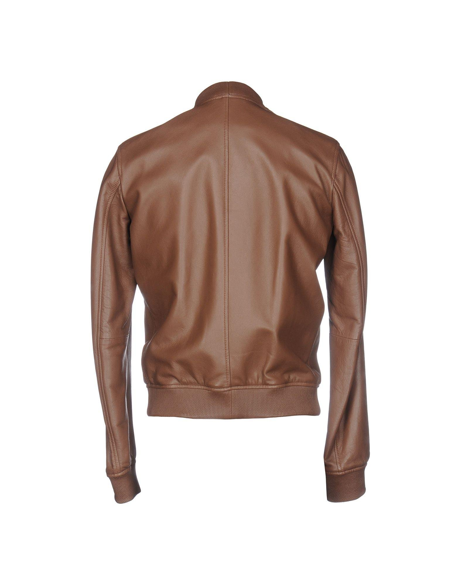 DSquared² Leather Jacket in Brown for Men