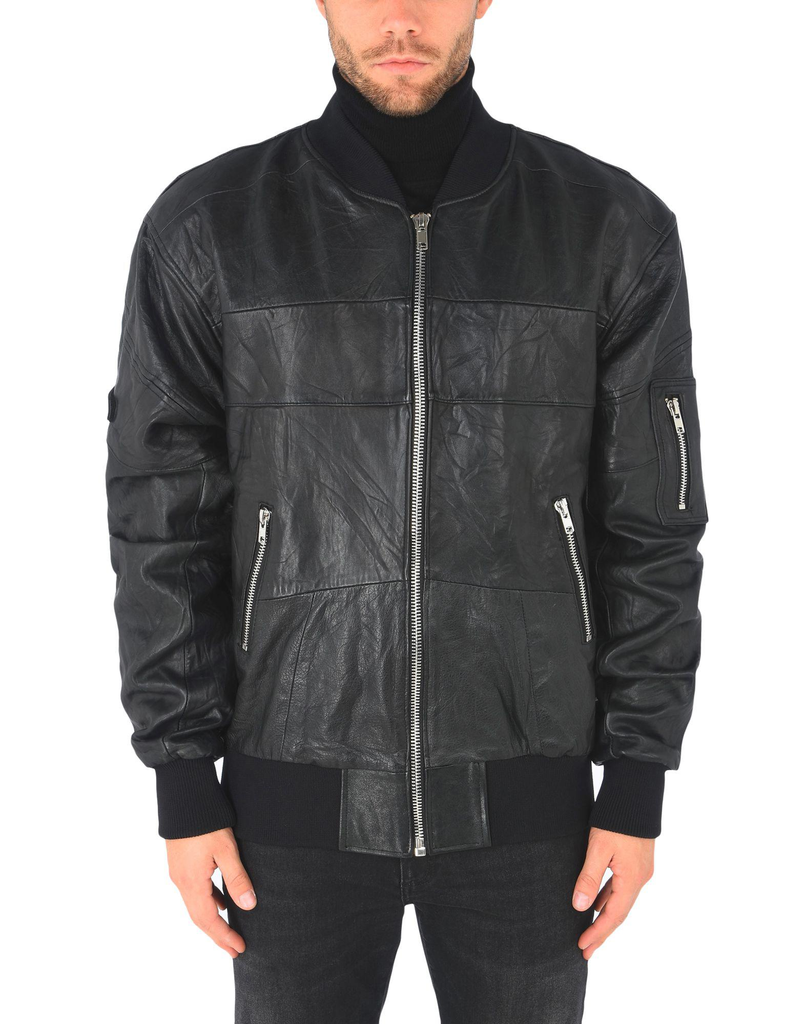 DEADWOOD Leather Jacket in Black for Men