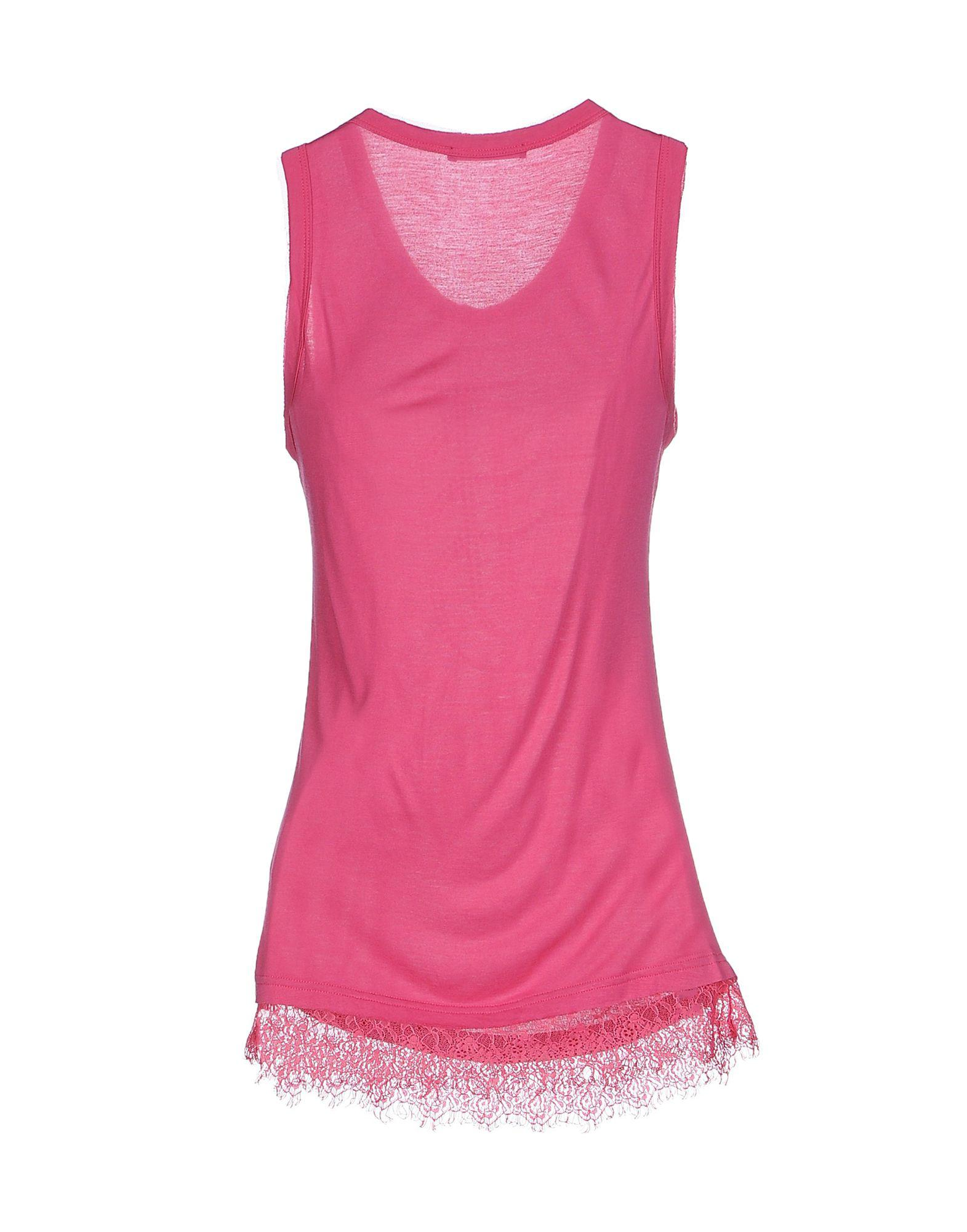 Twin Set Lace Tank Top in Fuchsia (Purple)