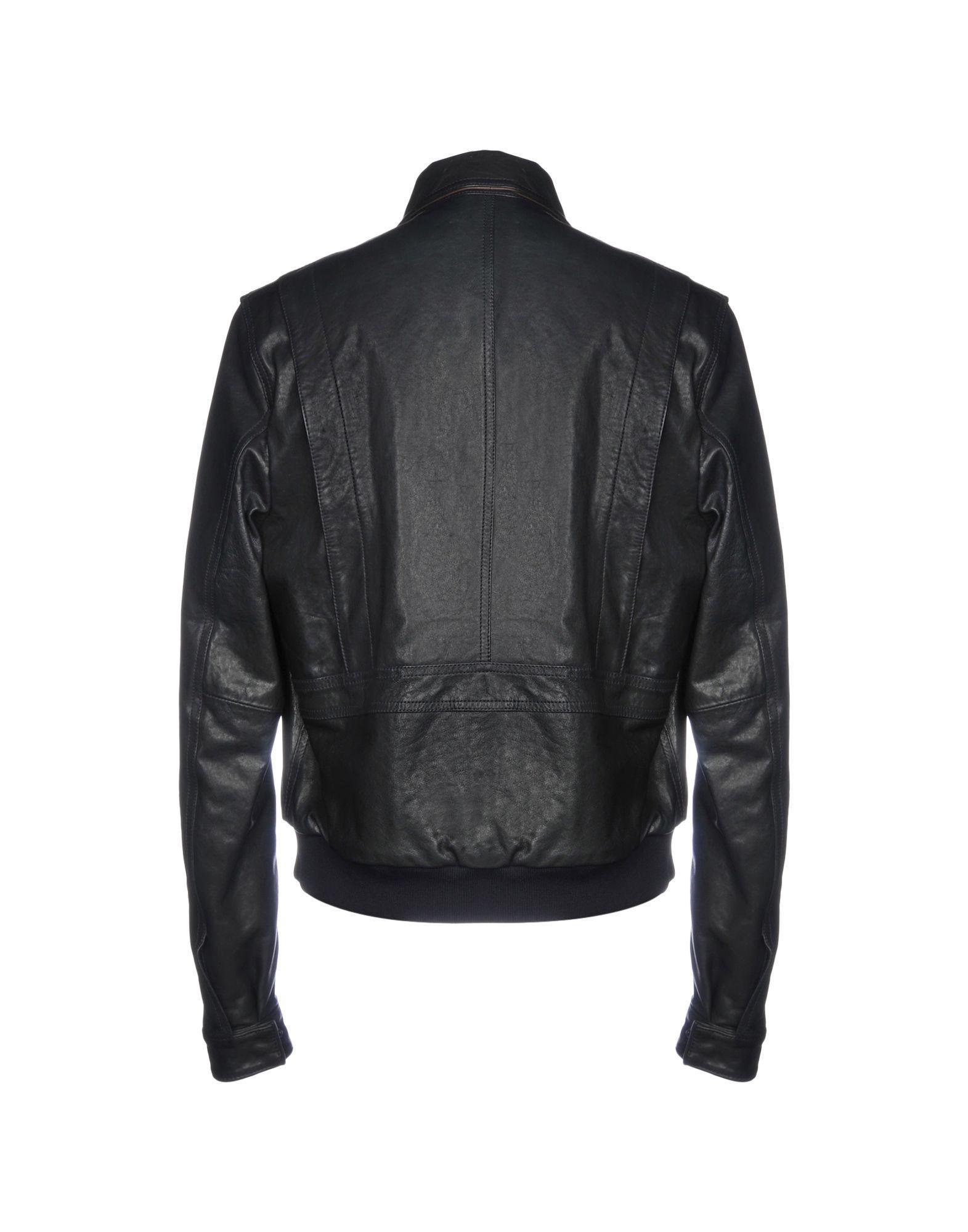 Al Duca d'Aosta Leather Jacket in Dark Blue (Blue) for Men