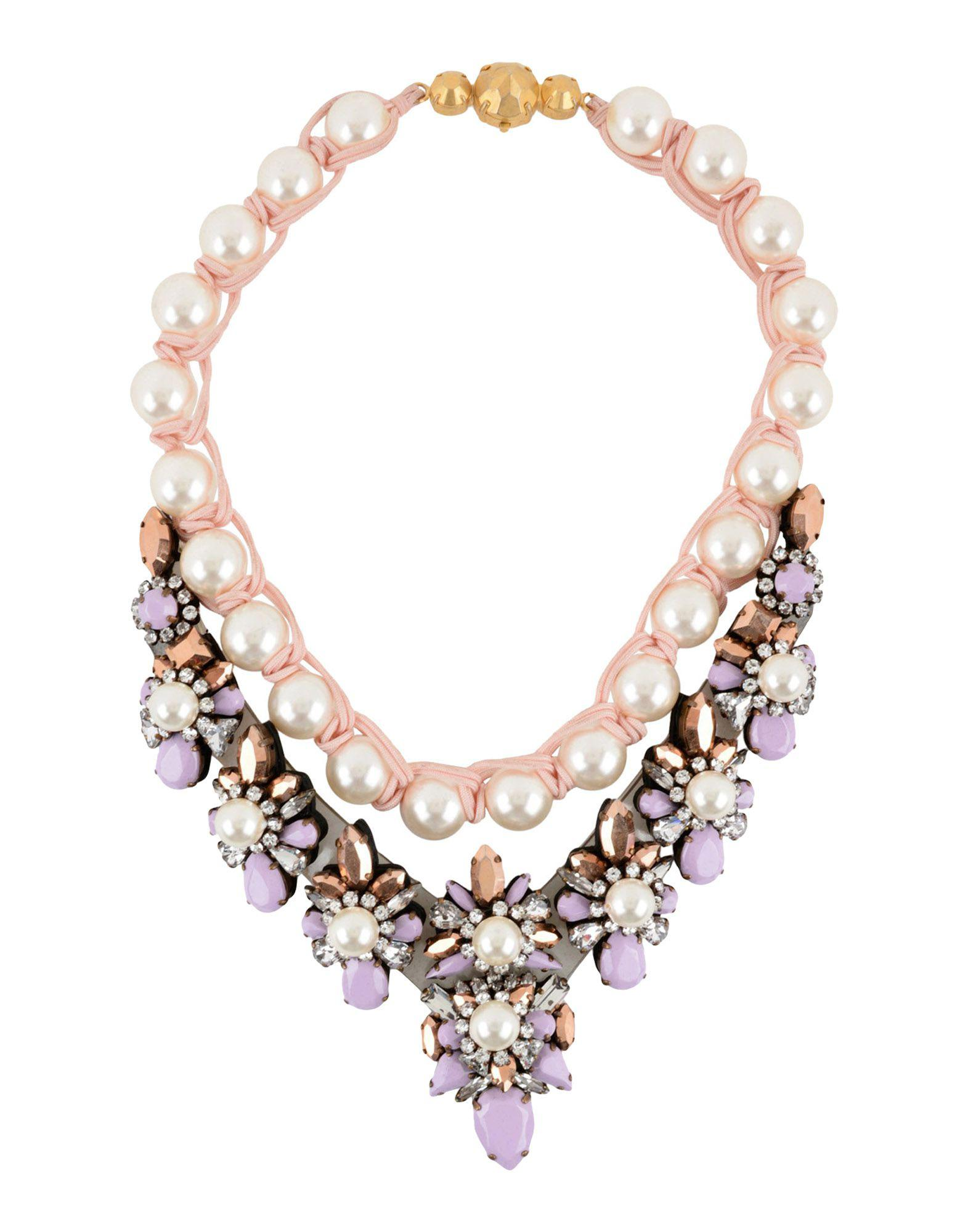 leitmotiv more pink crystal v org necklaces necklace id shourouk for clear embellished zambia neon jewelry master taupe at sale